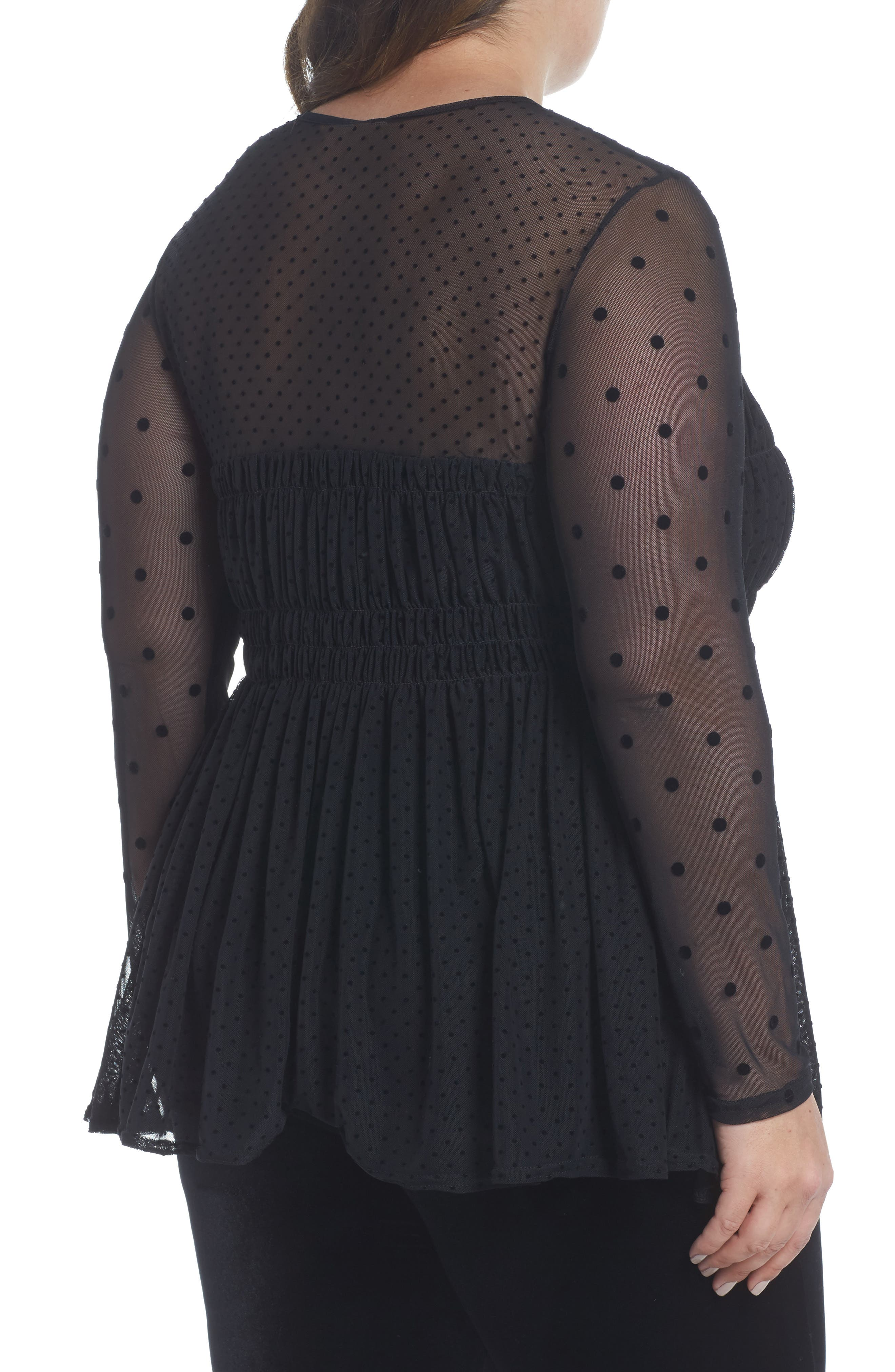 Dobby Dot Sweetheart Mesh Top,                             Alternate thumbnail 2, color,                             Black