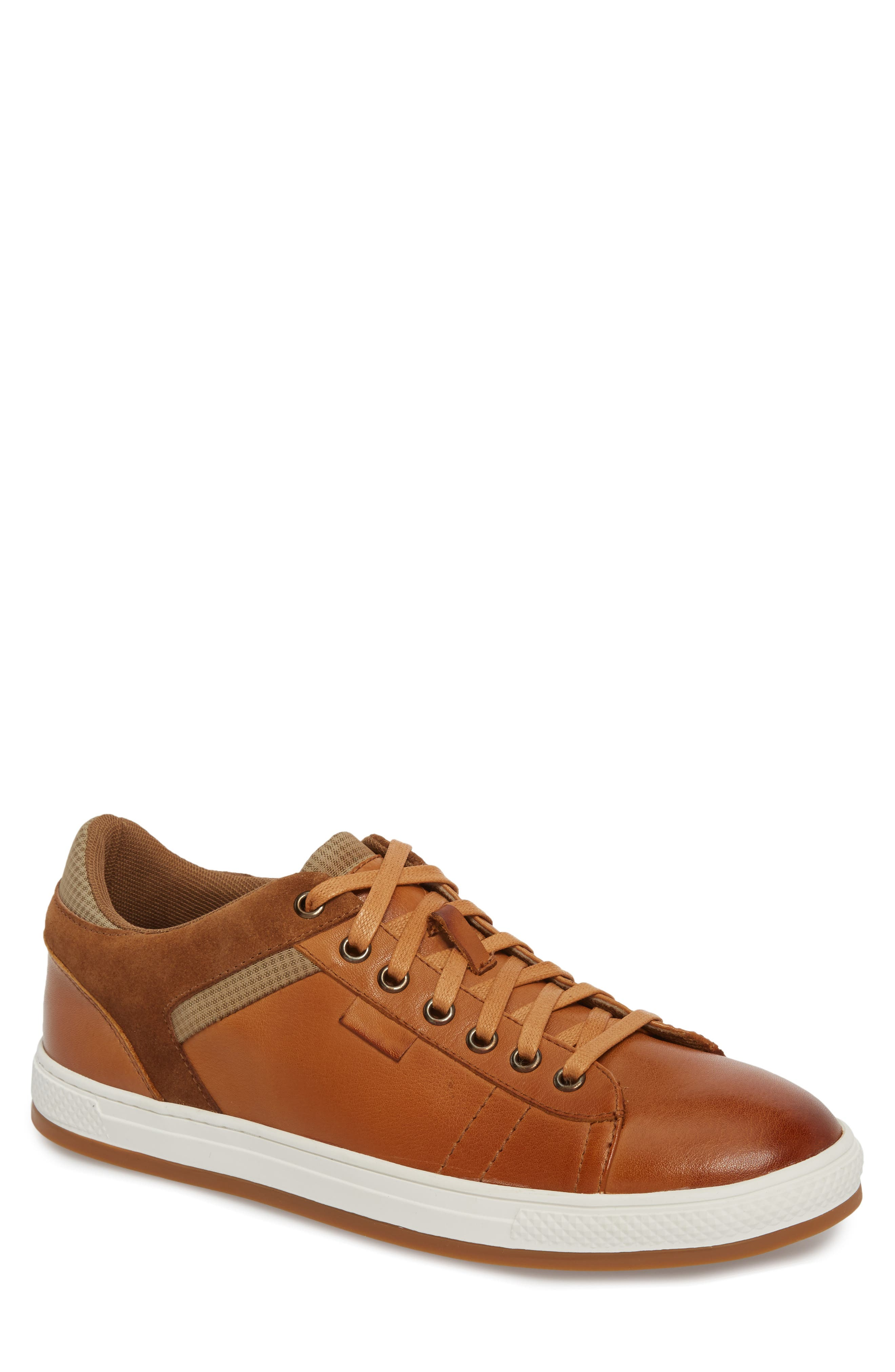 Ireton Low Top Sneaker,                         Main,                         color, Cognac Leather/ Suede