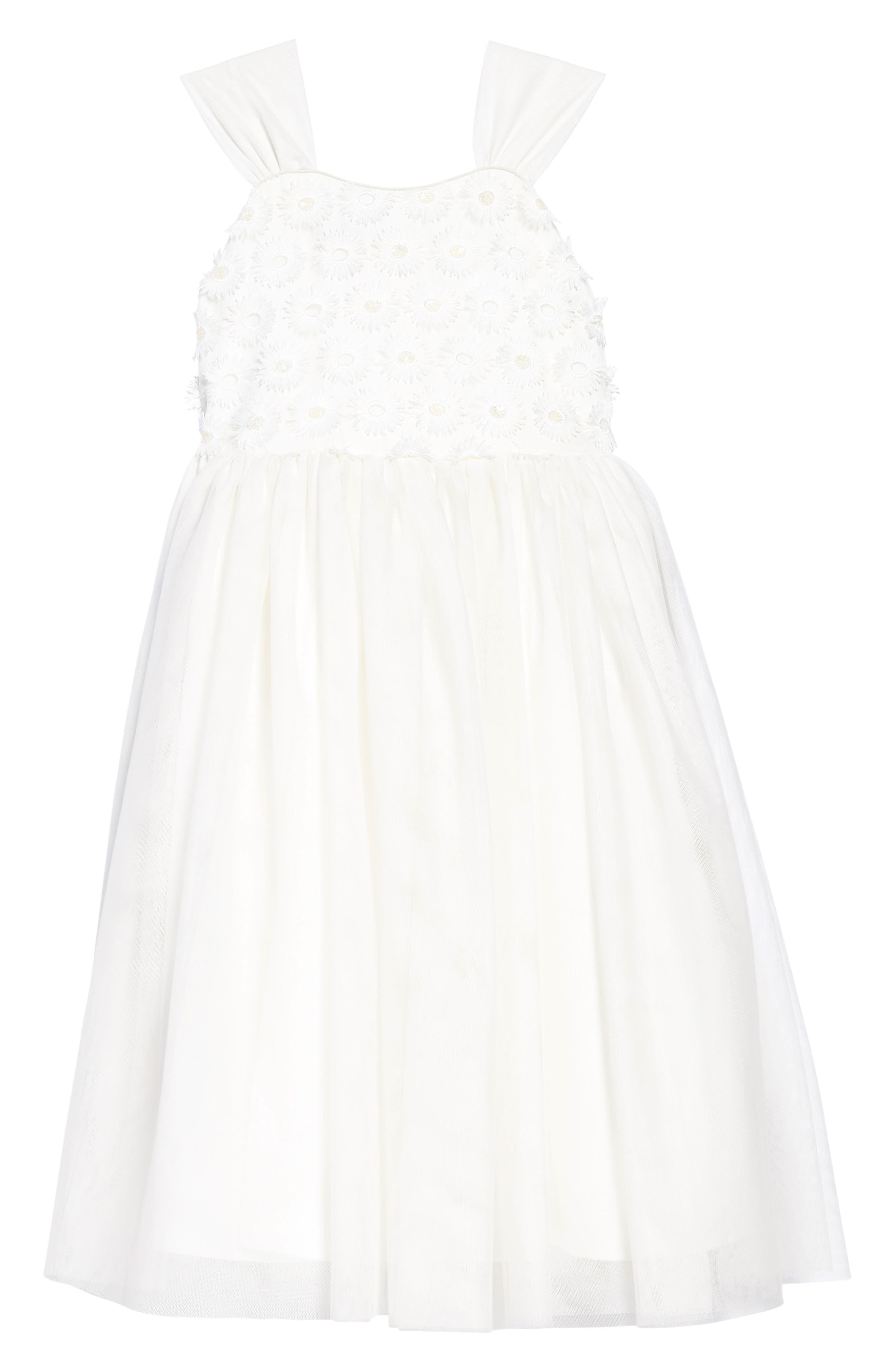 Embroidered Daisy Tulle Dress,                             Main thumbnail 1, color,                             White