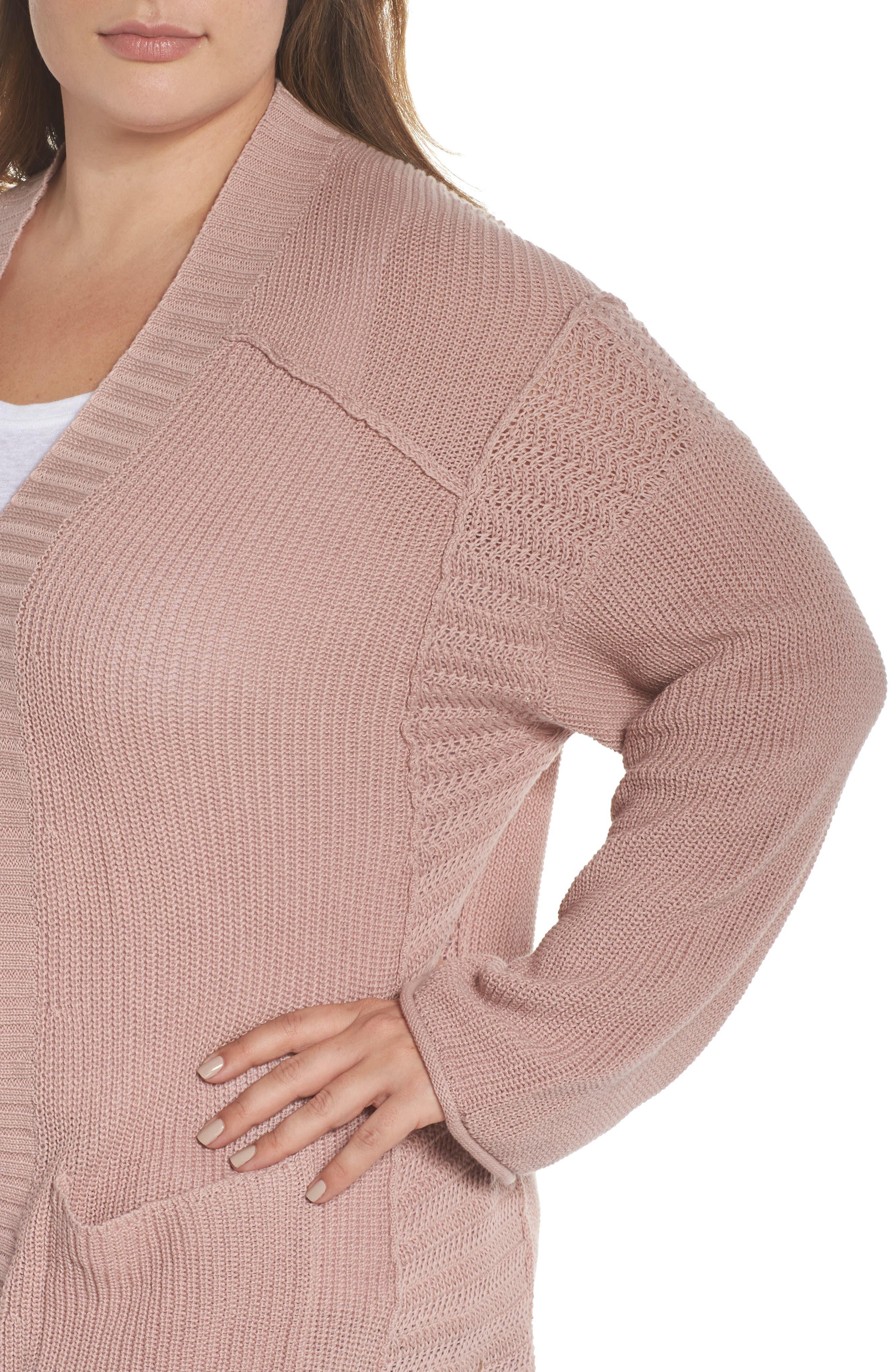 Sweater Knit Cardigan,                             Alternate thumbnail 4, color,                             Pink Adobe