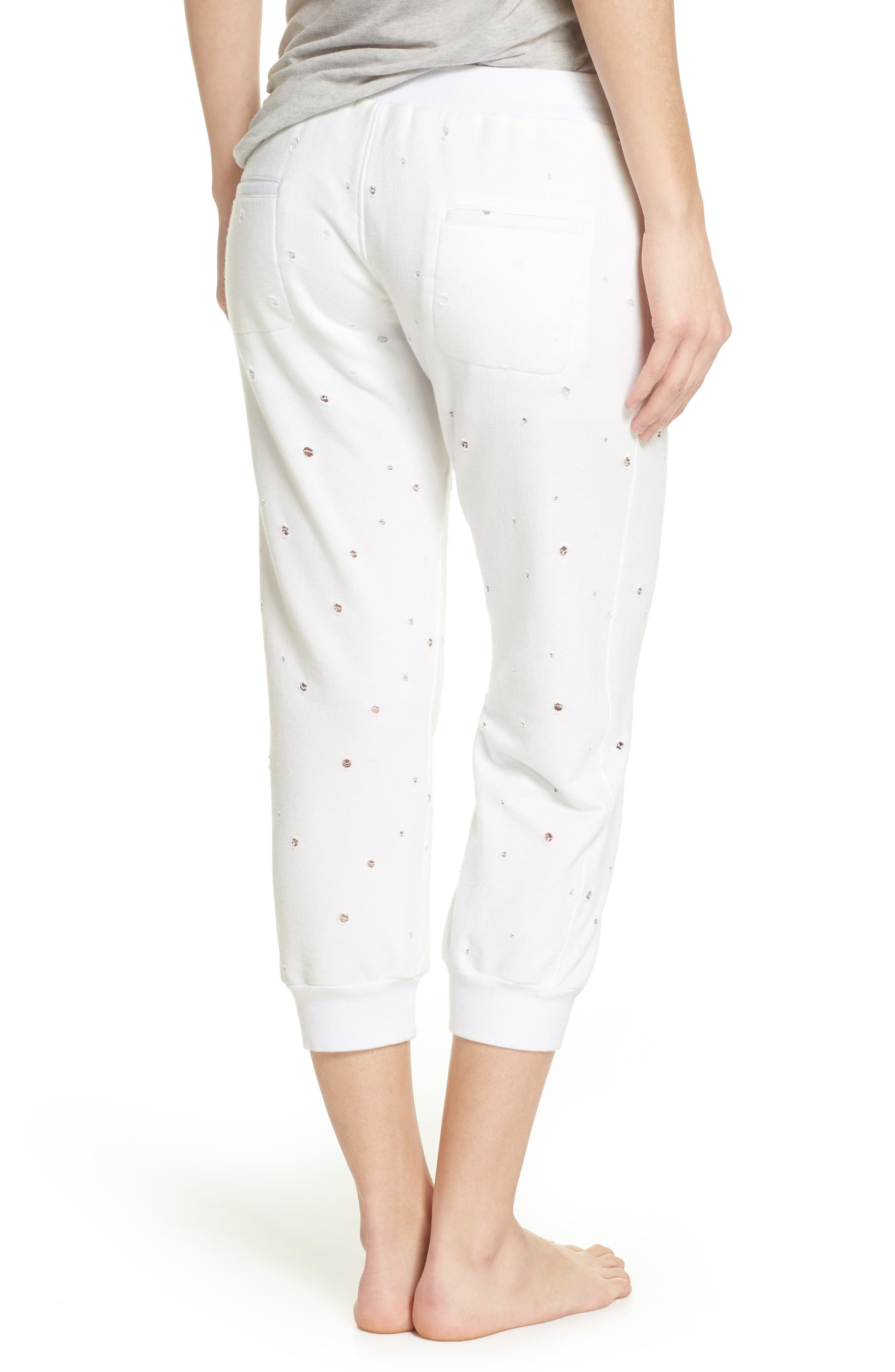 Distressed Crop Lounge Pants,                             Alternate thumbnail 2, color,                             White