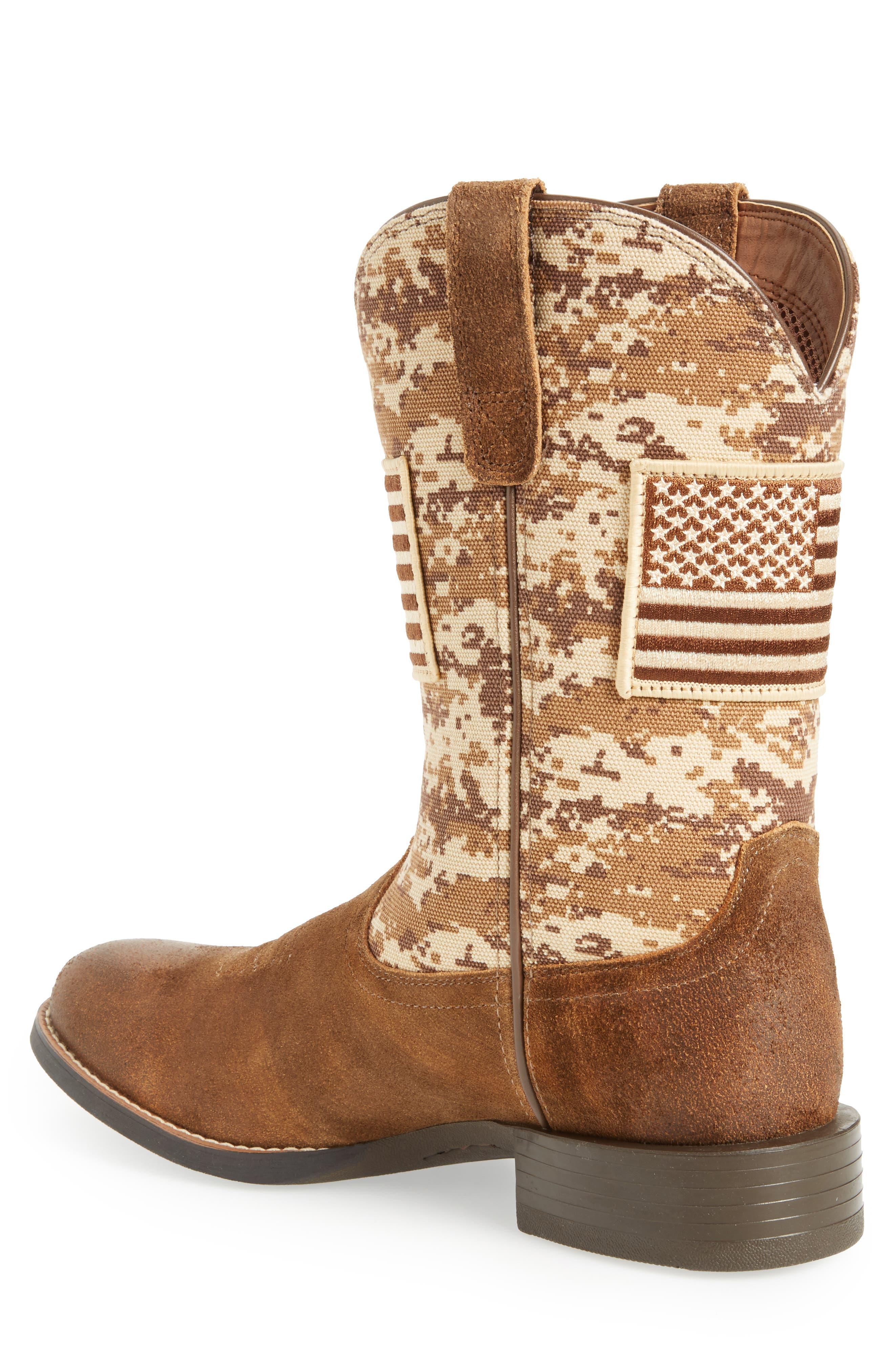 Sport Patriot Cowboy Boot,                             Alternate thumbnail 2, color,                             Antique Mocha/ Sand Leather