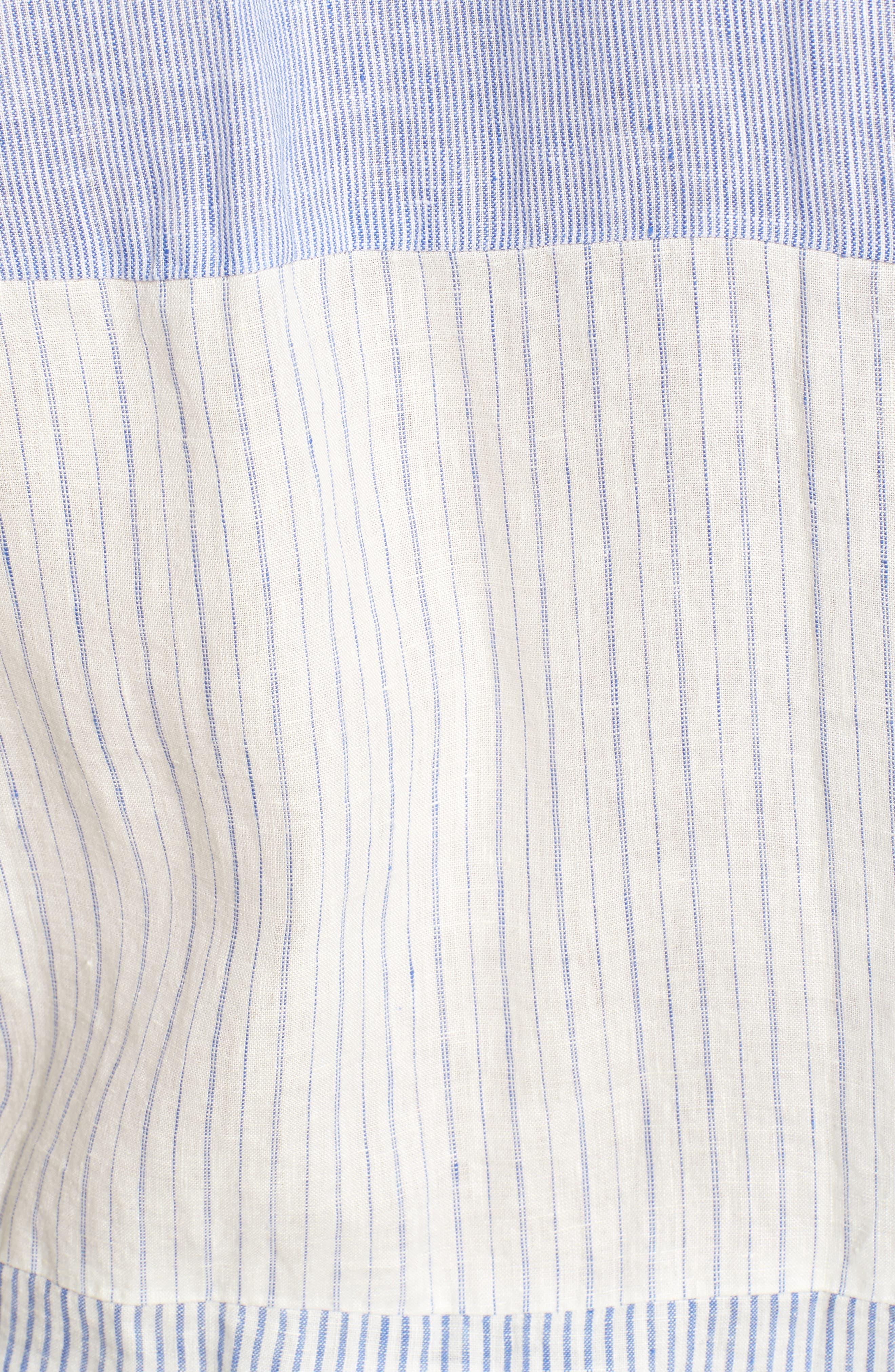 Relaxed Fit Stripe Linen & Cotton Sport Shirt,                             Alternate thumbnail 5, color,                             Rich Blue Stripes