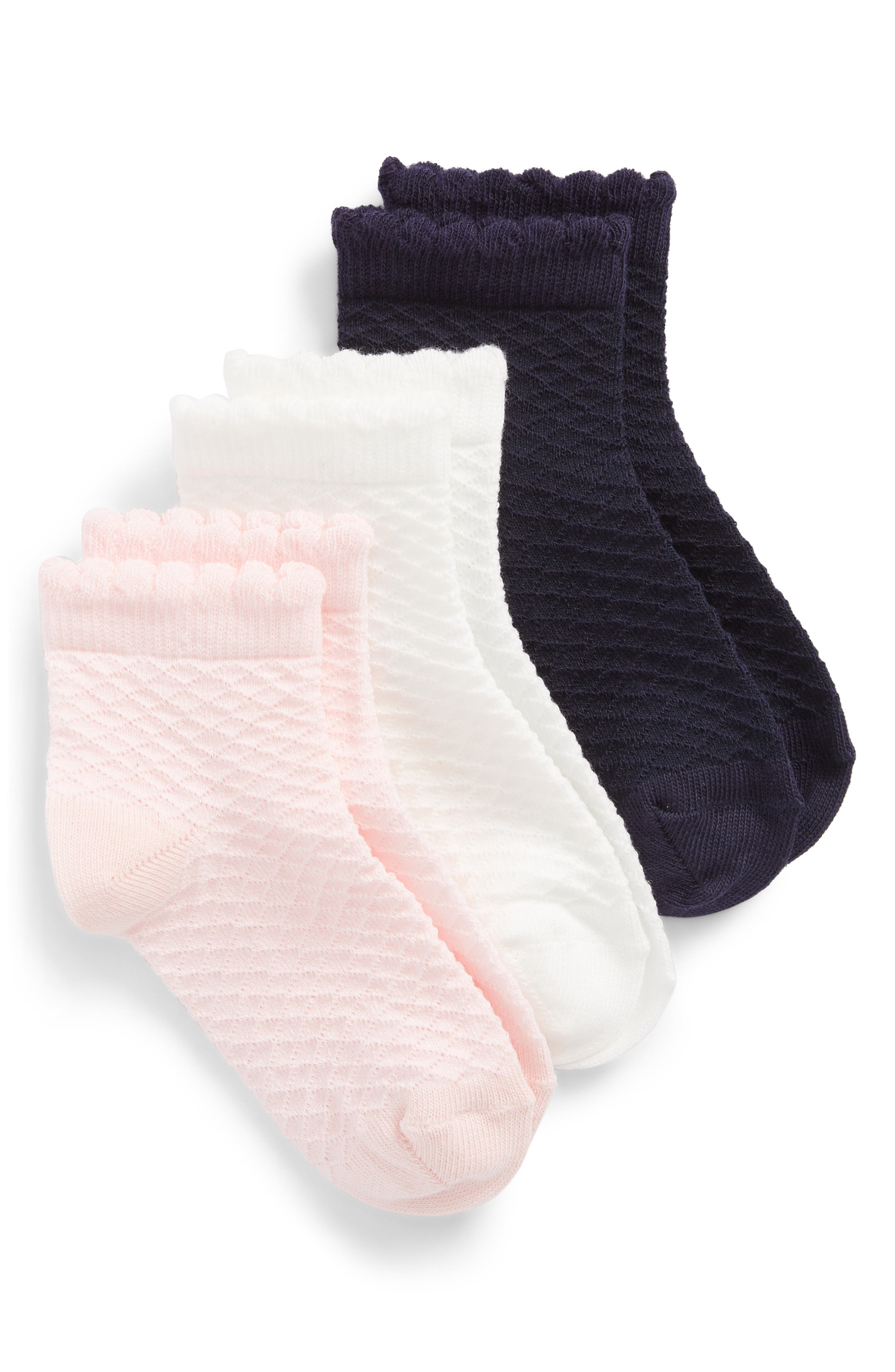 Ruby & Bloom 3-Pack Diamond Pointelle Ankle Socks (Toddler, Little Kid & Big Kid)