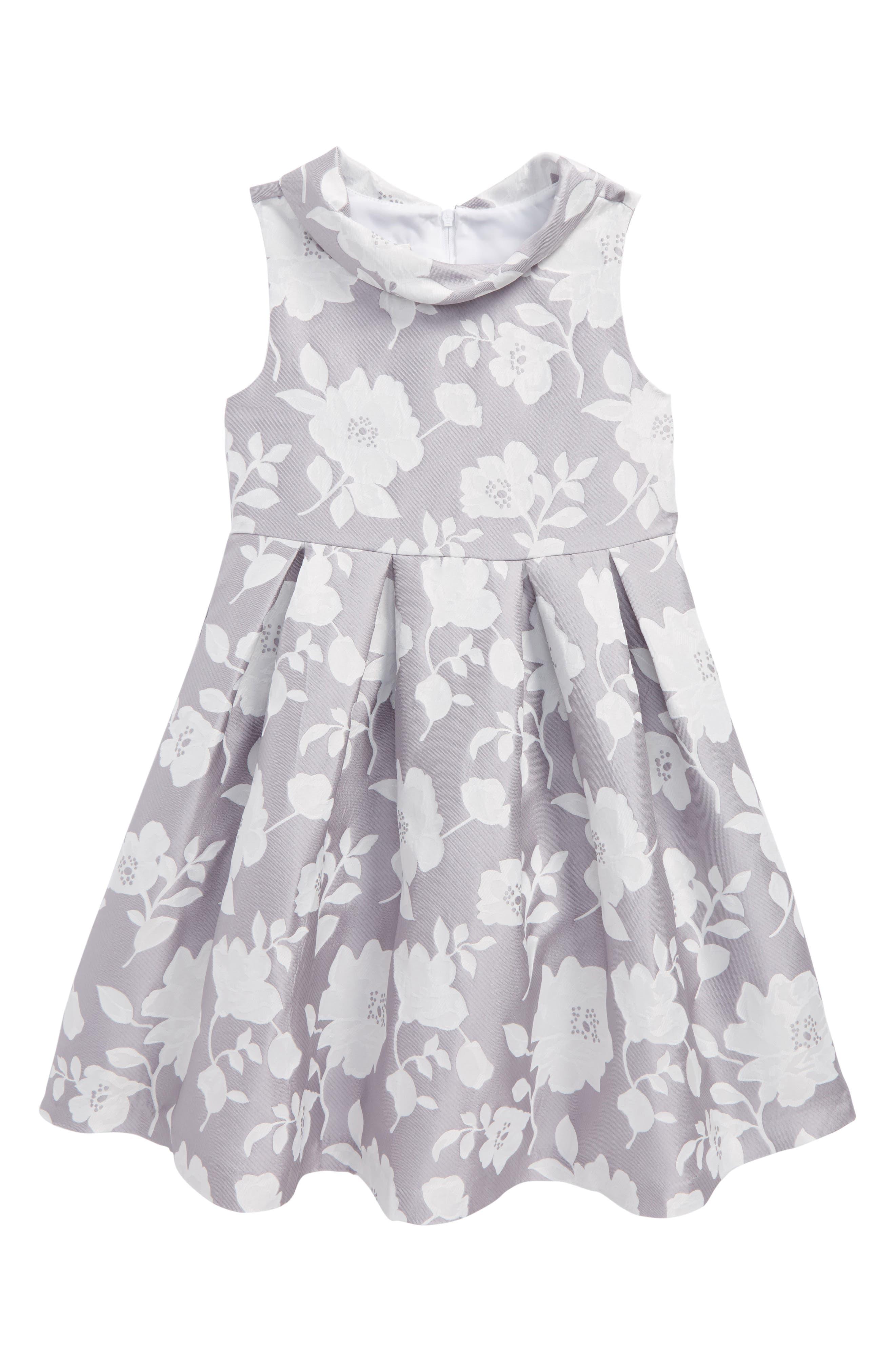 Floral Jacquard Dress,                         Main,                         color, Grey