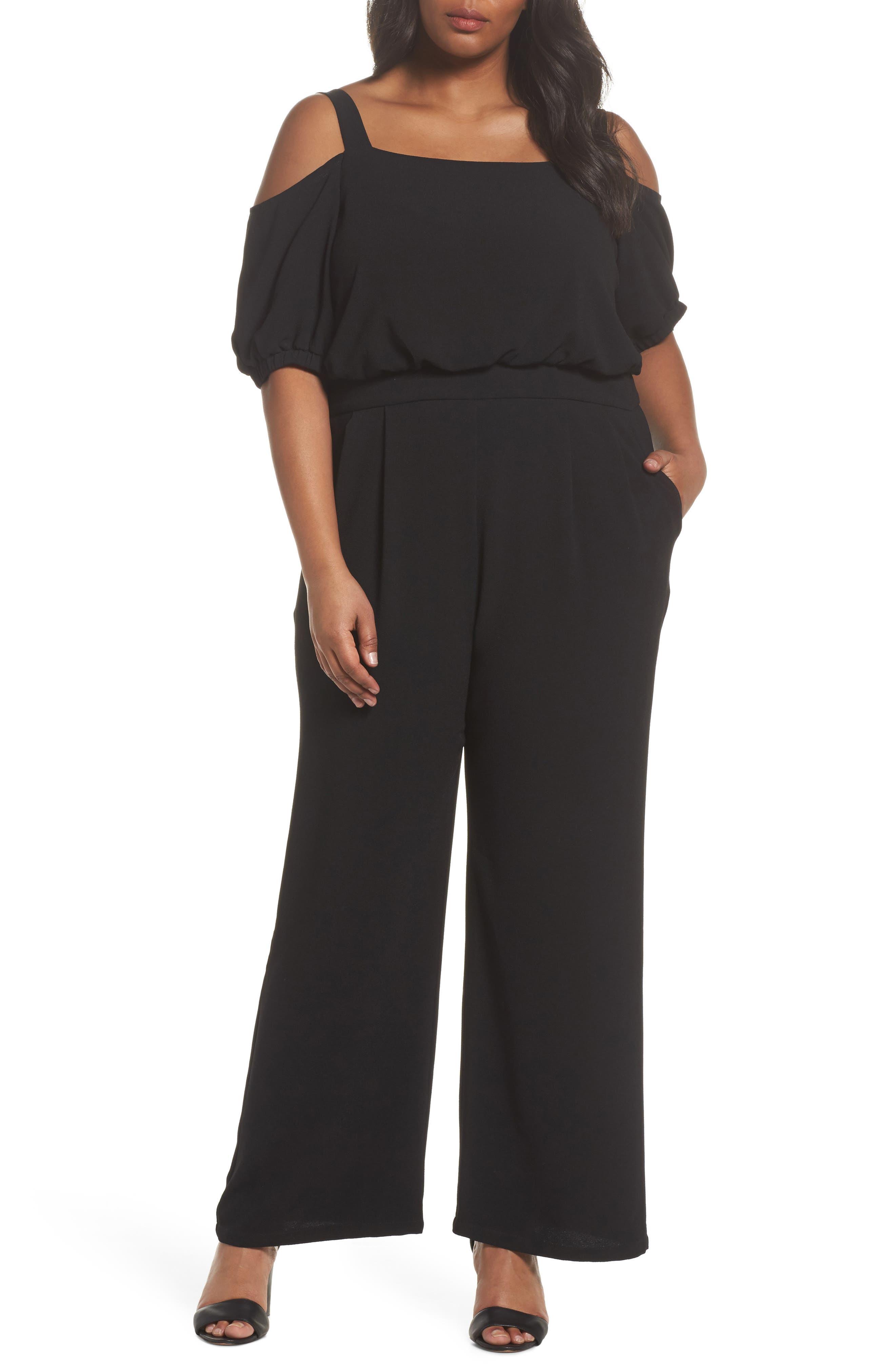 Off the Shoulder Blouson Jumpsuit,                         Main,                         color, Black