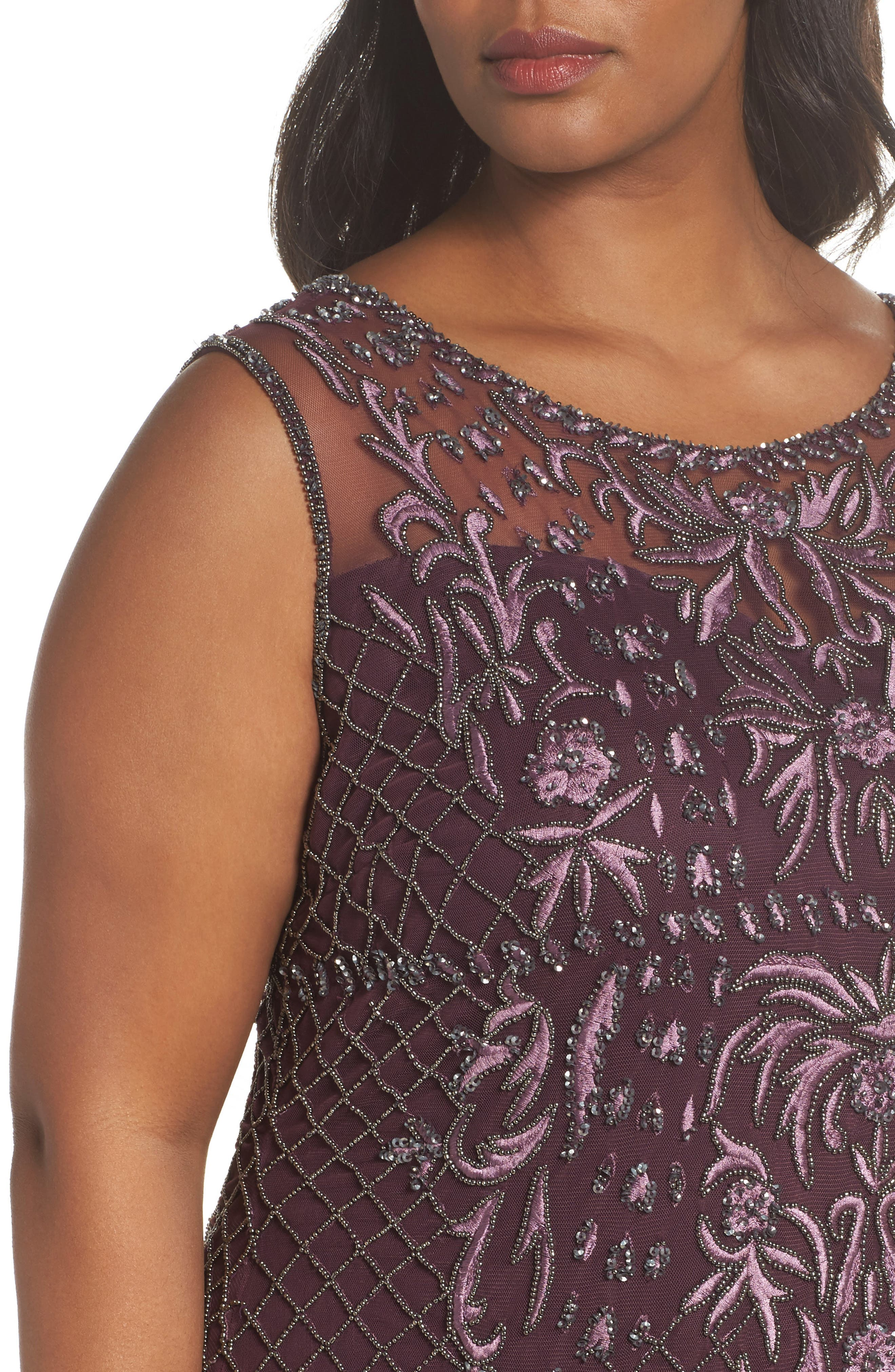 Embellished Gown,                             Alternate thumbnail 4, color,                             Plum