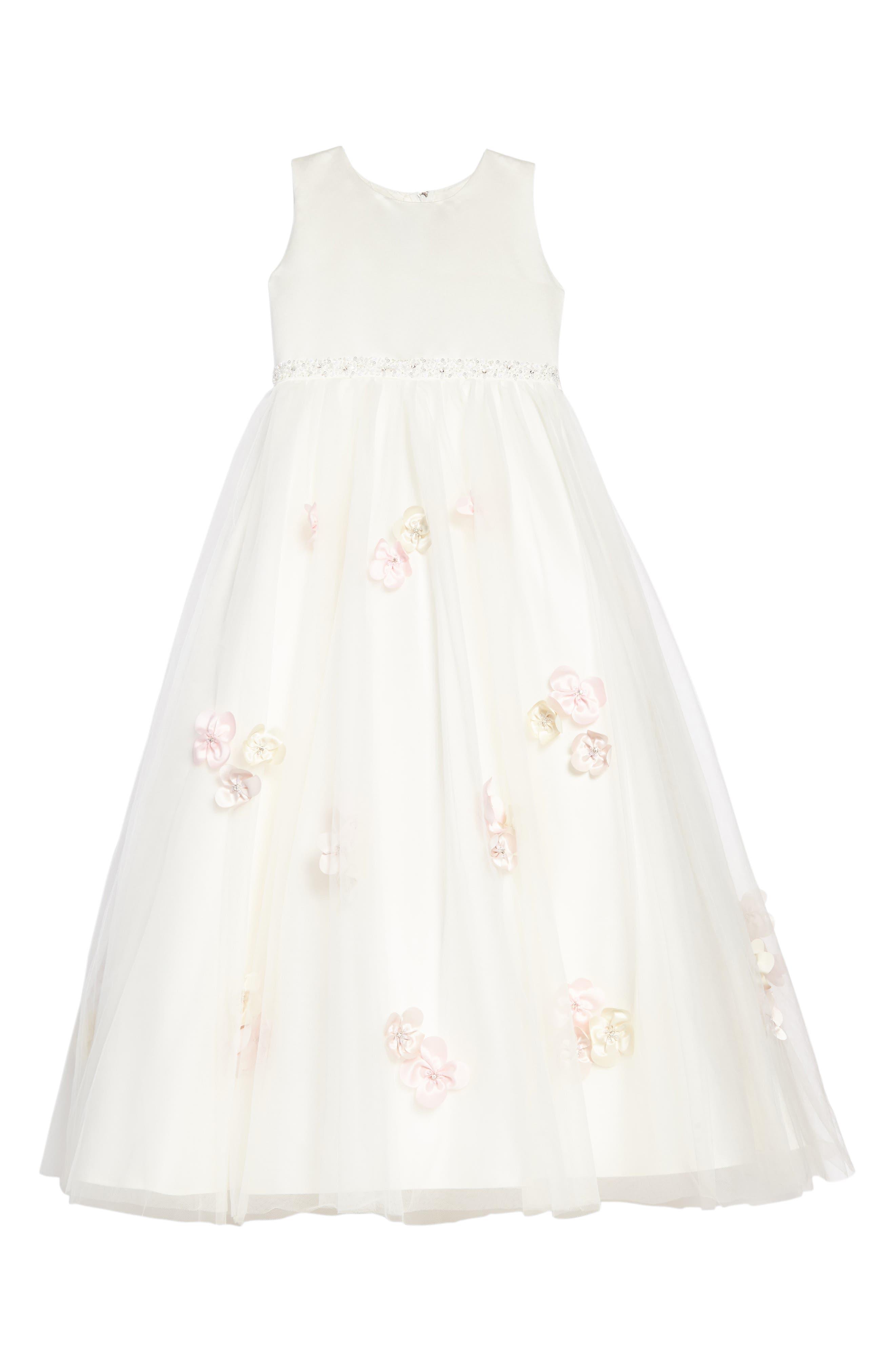Beaded Satin & Tulle Dress,                         Main,                         color, Ivory/ Petal/ Multi