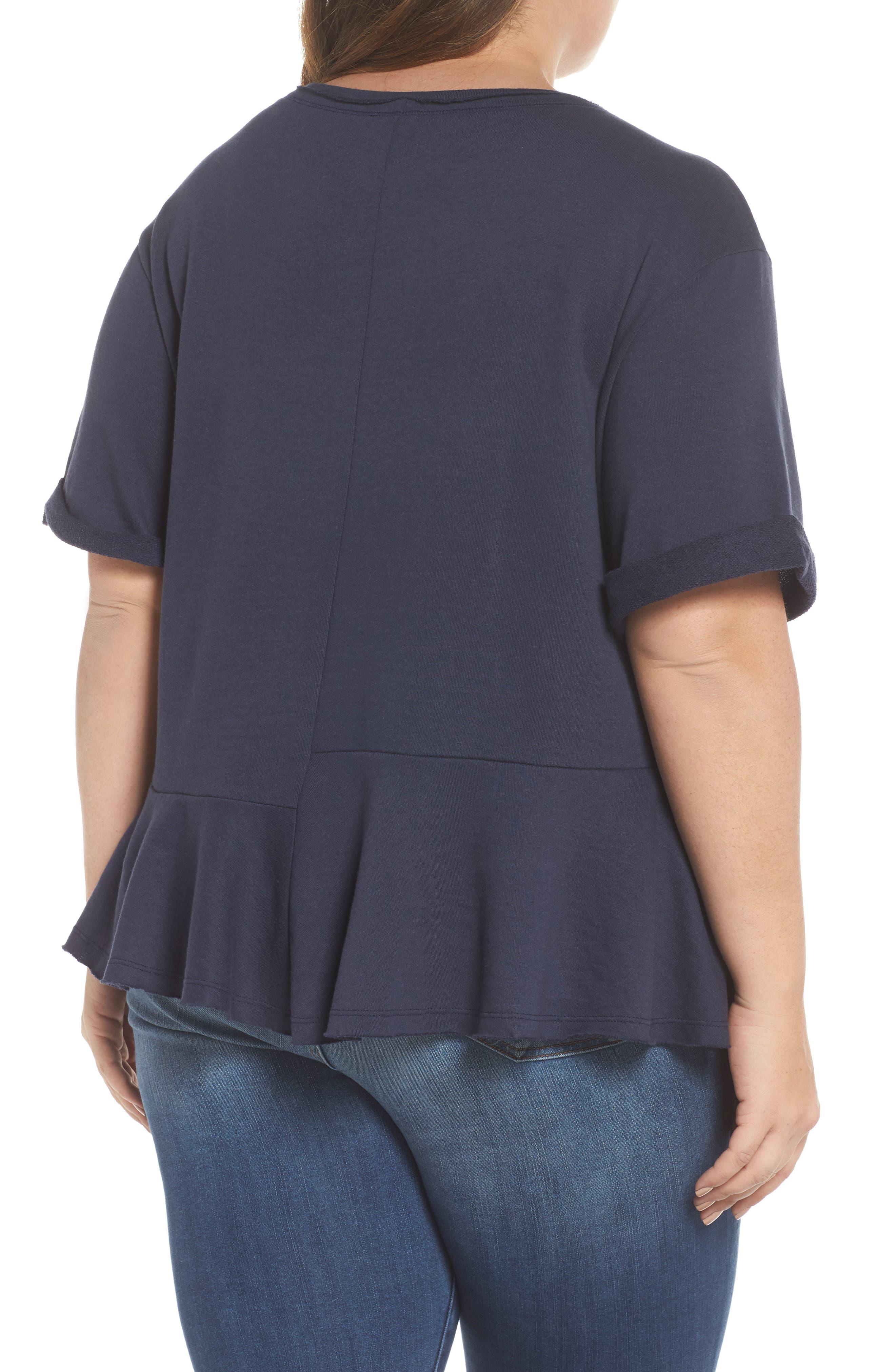 Mixed Seam Ruffle Sweatshirt,                             Alternate thumbnail 2, color,                             Navy Indigo