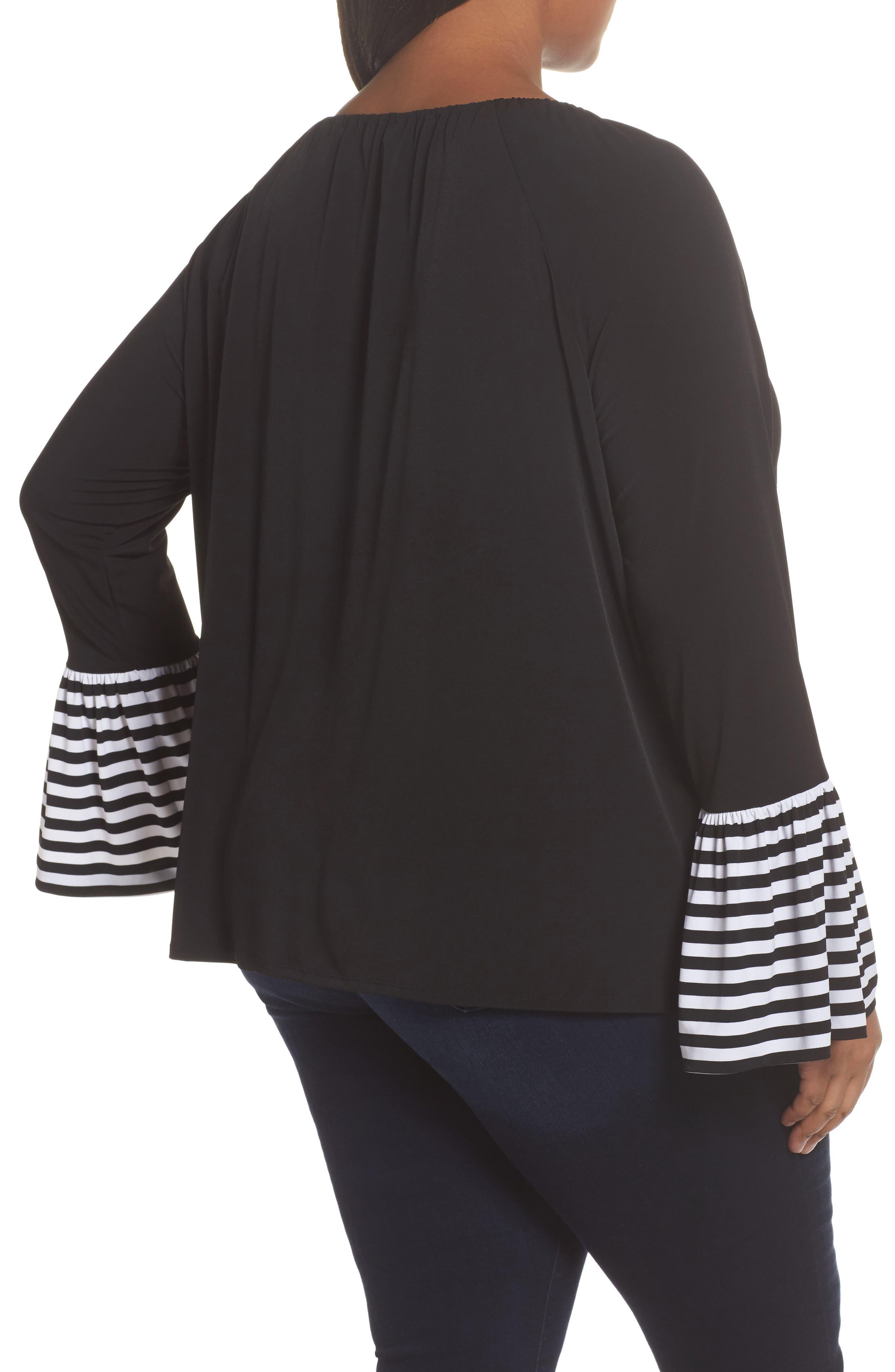 Stripe Bell Sleeve Top,                             Alternate thumbnail 2, color,                             Black
