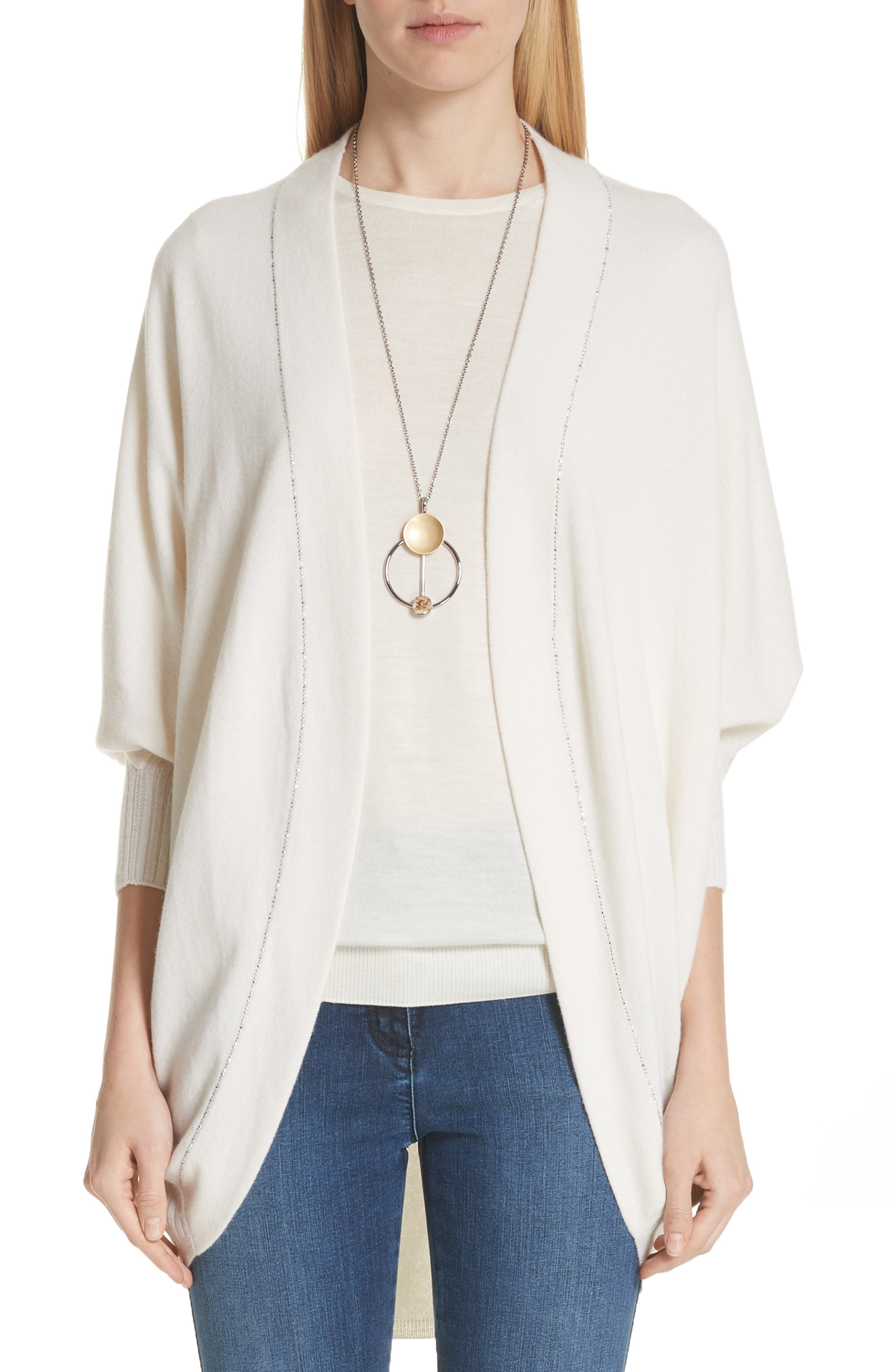 St. John Collection Cashmere Jersey Knit Cocoon Cardigan