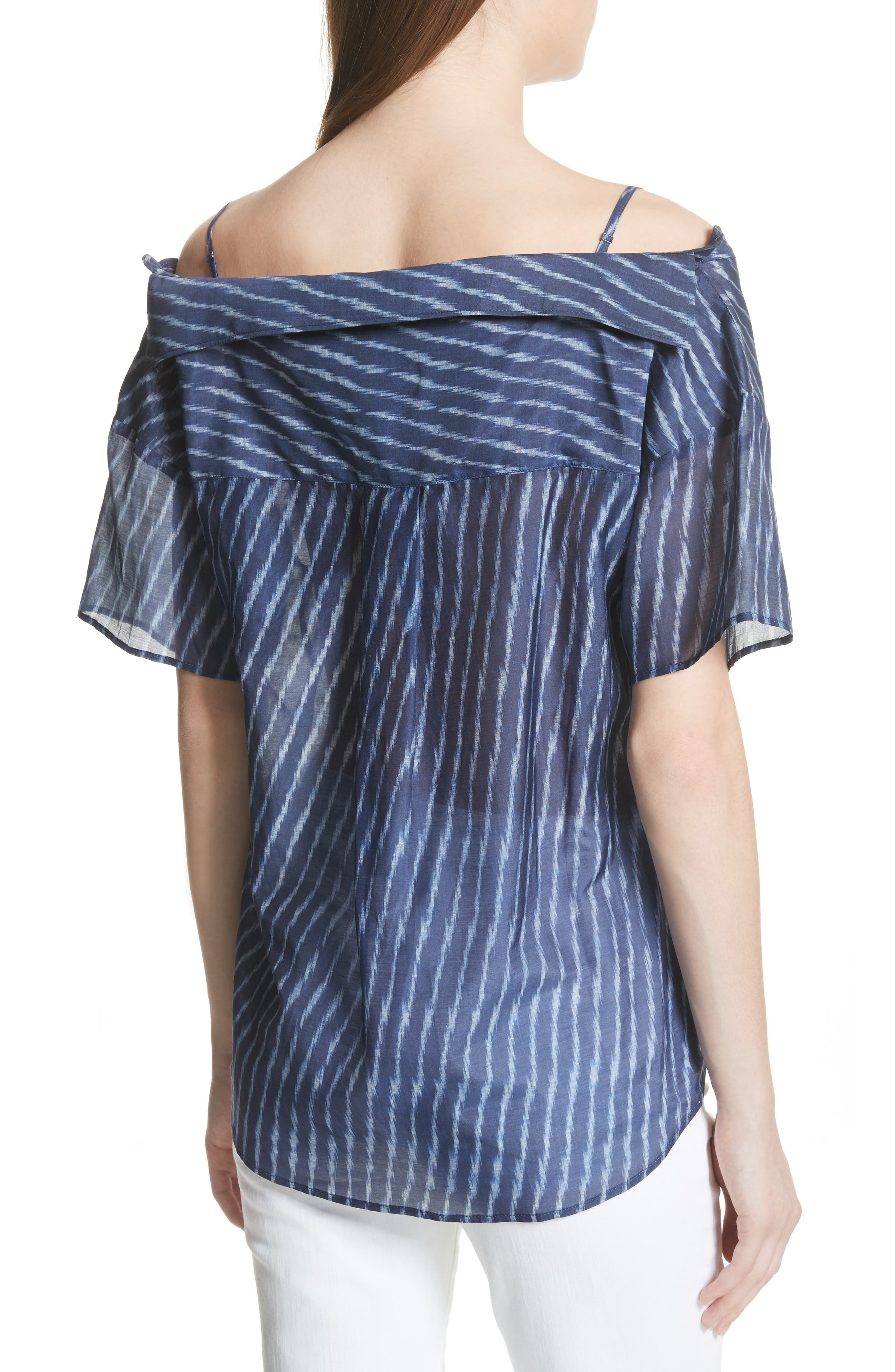 Modified Cold Shoulder Cotton Lawn Blouse,                             Alternate thumbnail 2, color,                             Blue Multi