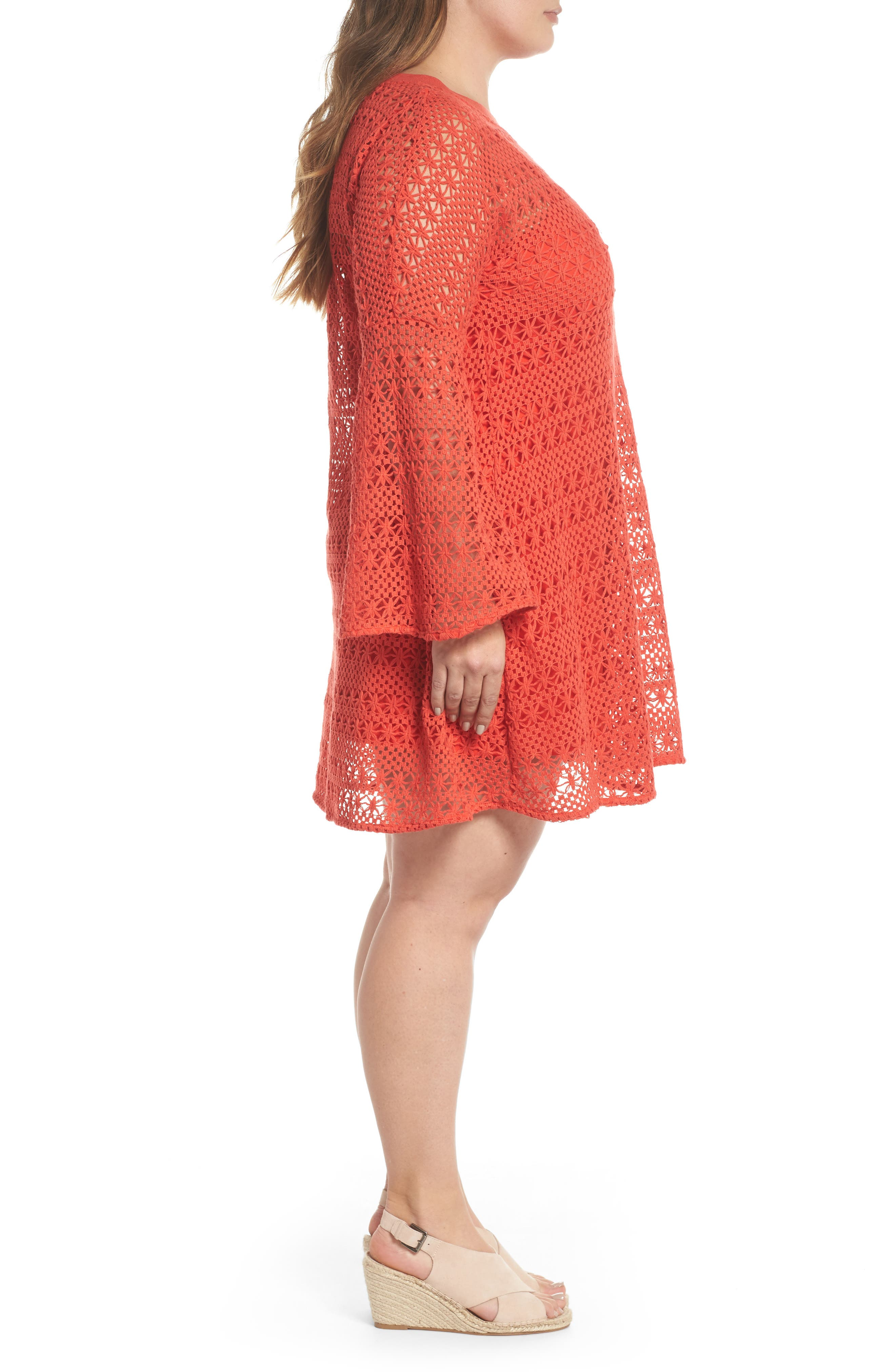 The Dahlia Bell Sleeve Crochet Shift Dress,                             Alternate thumbnail 3, color,                             Red