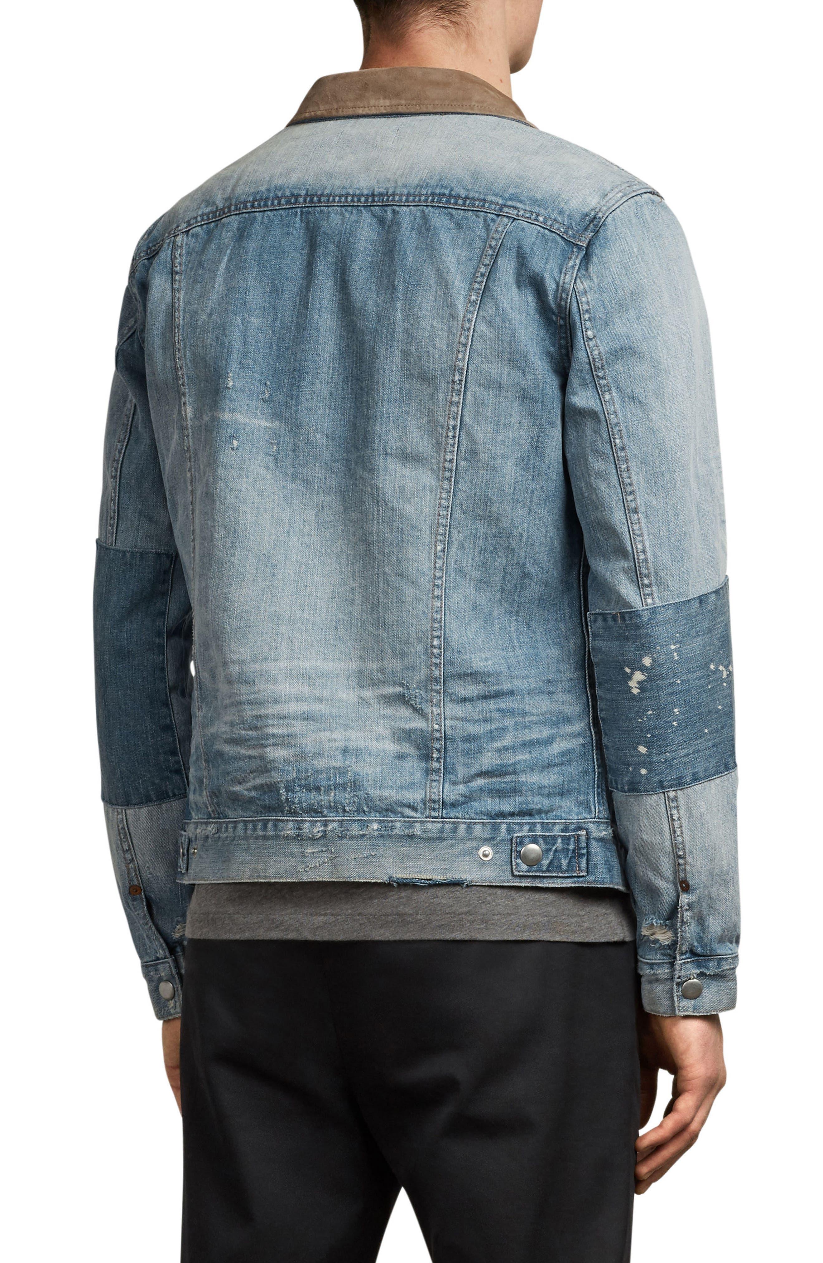 Ibanex Slim Fit Distressed Denim Jacket,                             Alternate thumbnail 2, color,                             Indigo