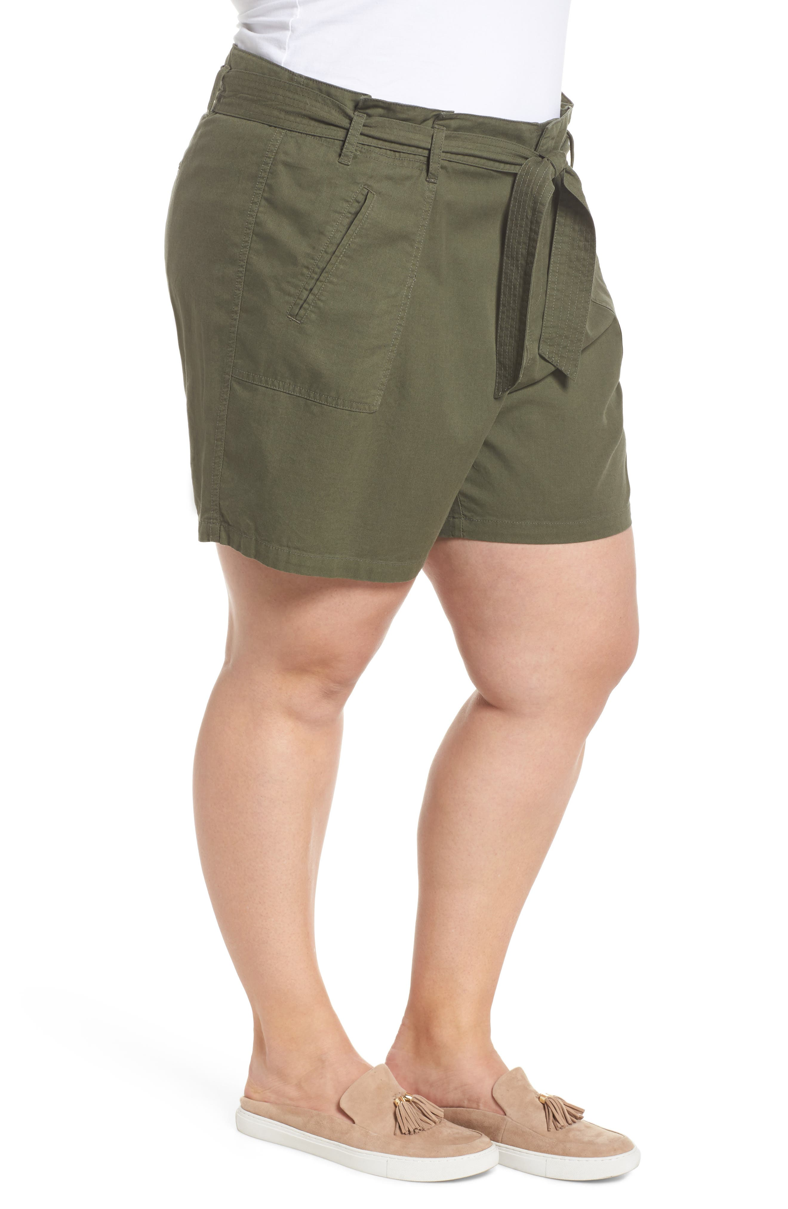 Belted Twill Shorts,                             Alternate thumbnail 3, color,                             Olive Sarma