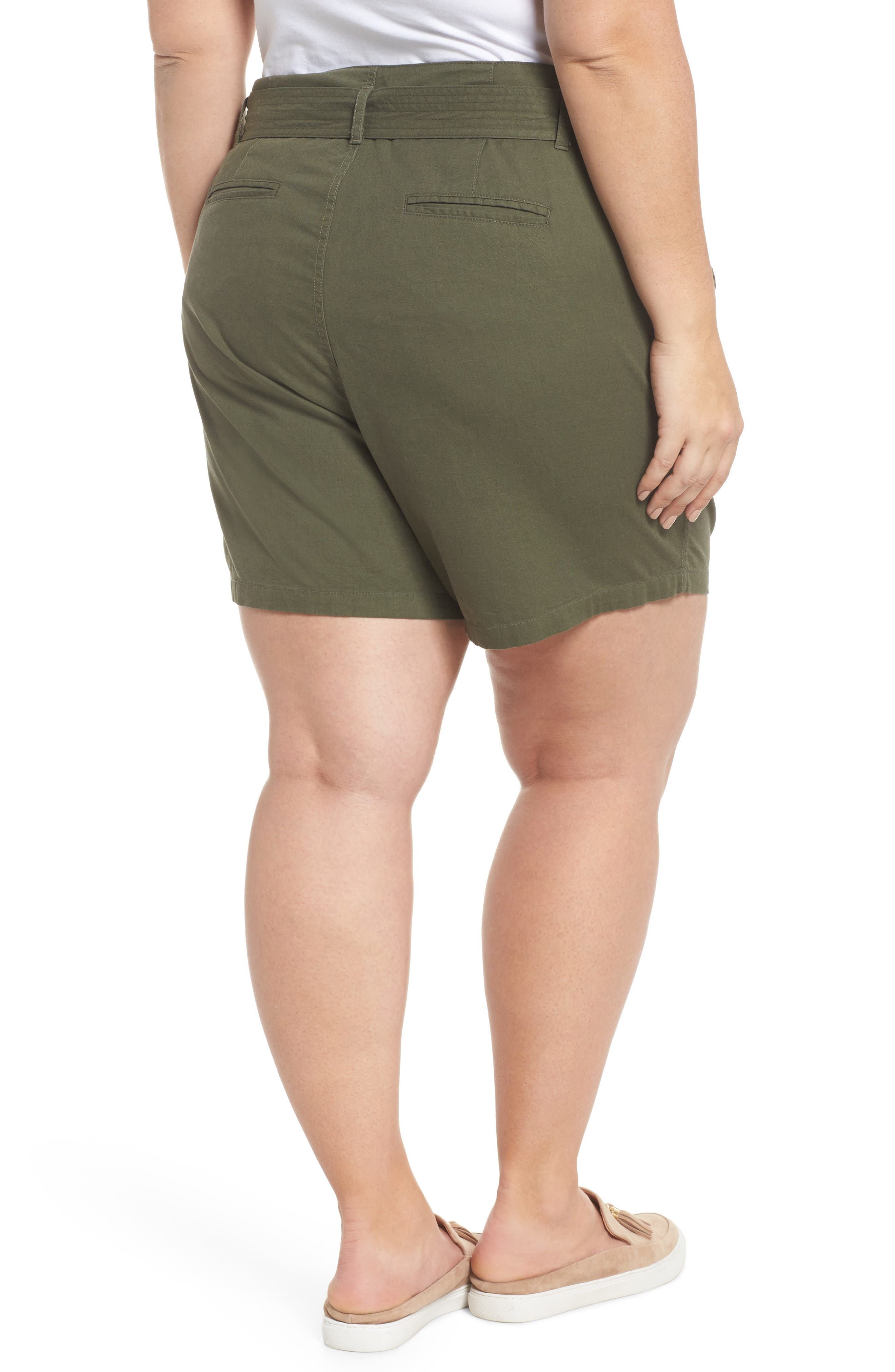Belted Twill Shorts,                             Alternate thumbnail 2, color,                             Olive Sarma