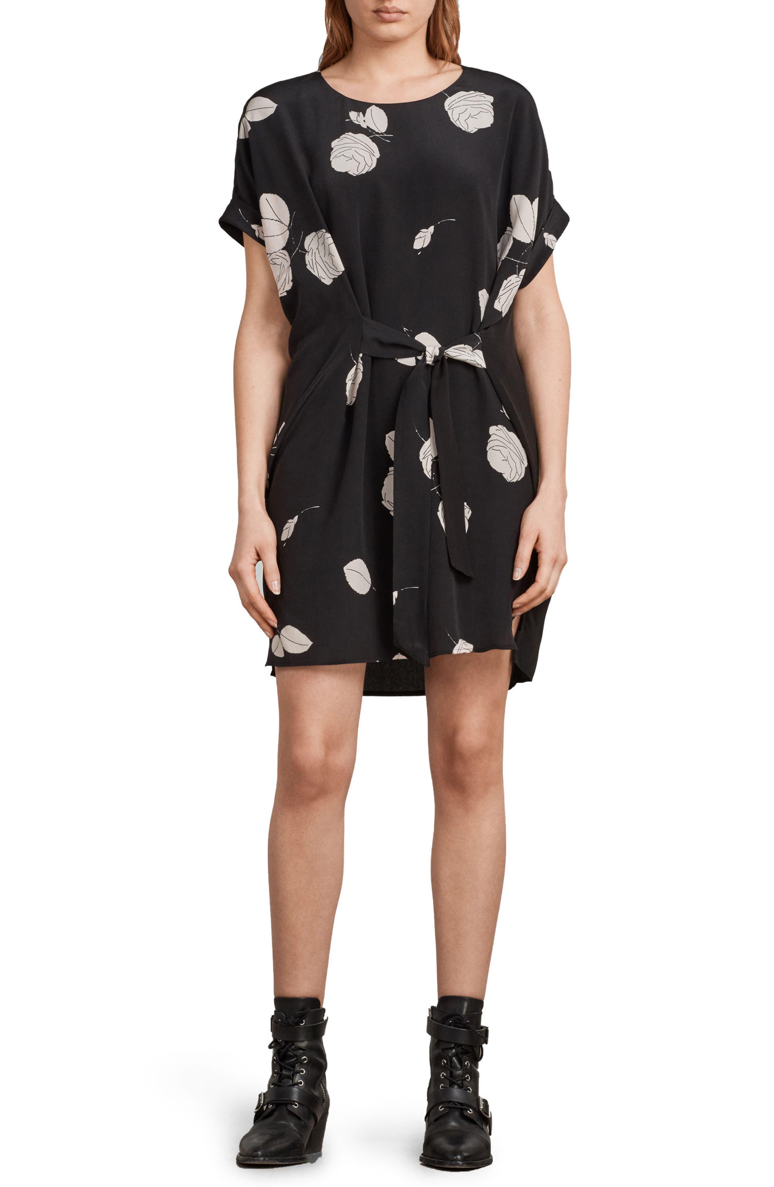 Sonny Rodin Silk Dress,                             Main thumbnail 1, color,                             Black