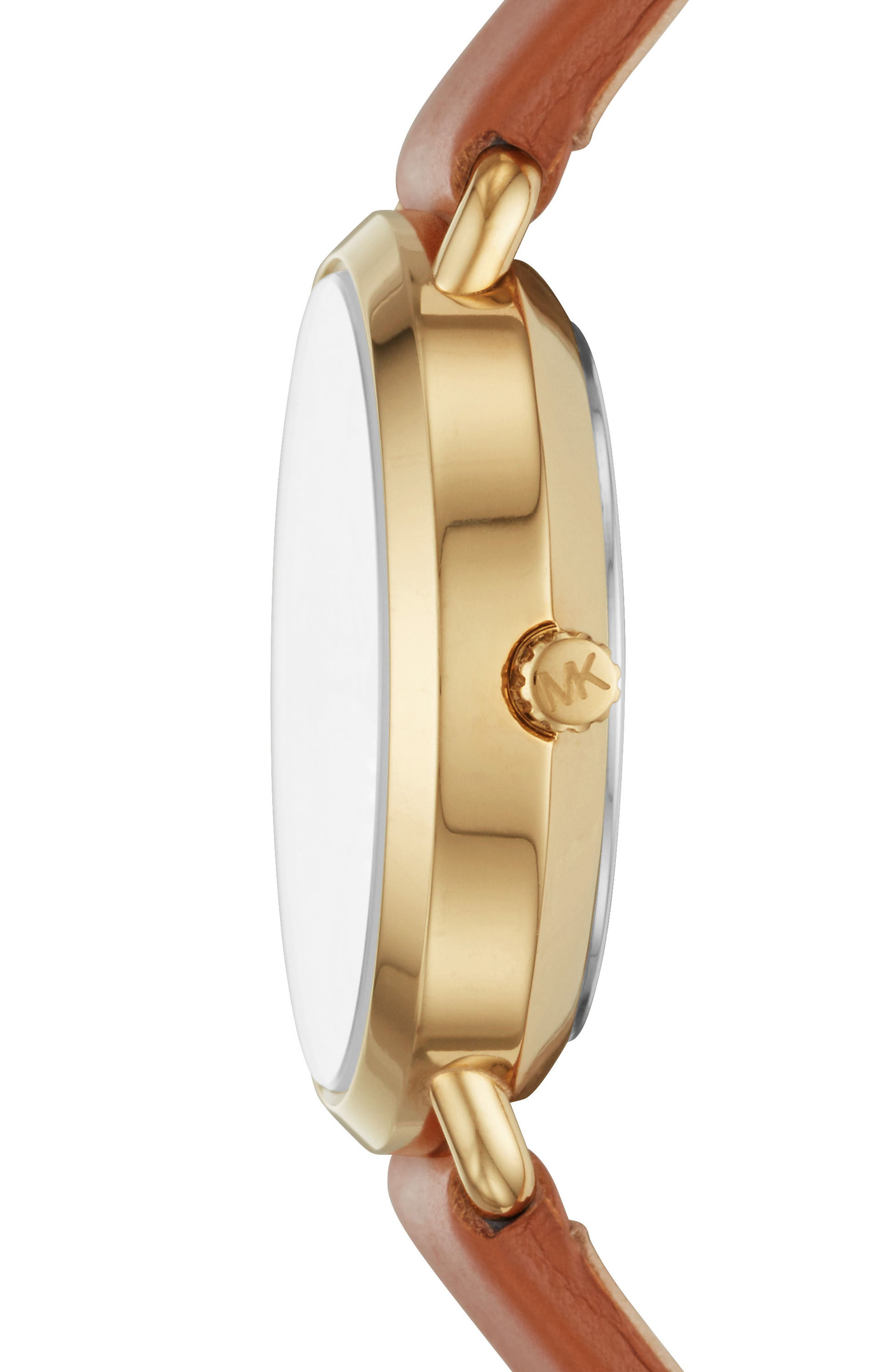 Mini Portia Leather Strap Watch, 28mm,                             Alternate thumbnail 2, color,                             Tan/ Gold