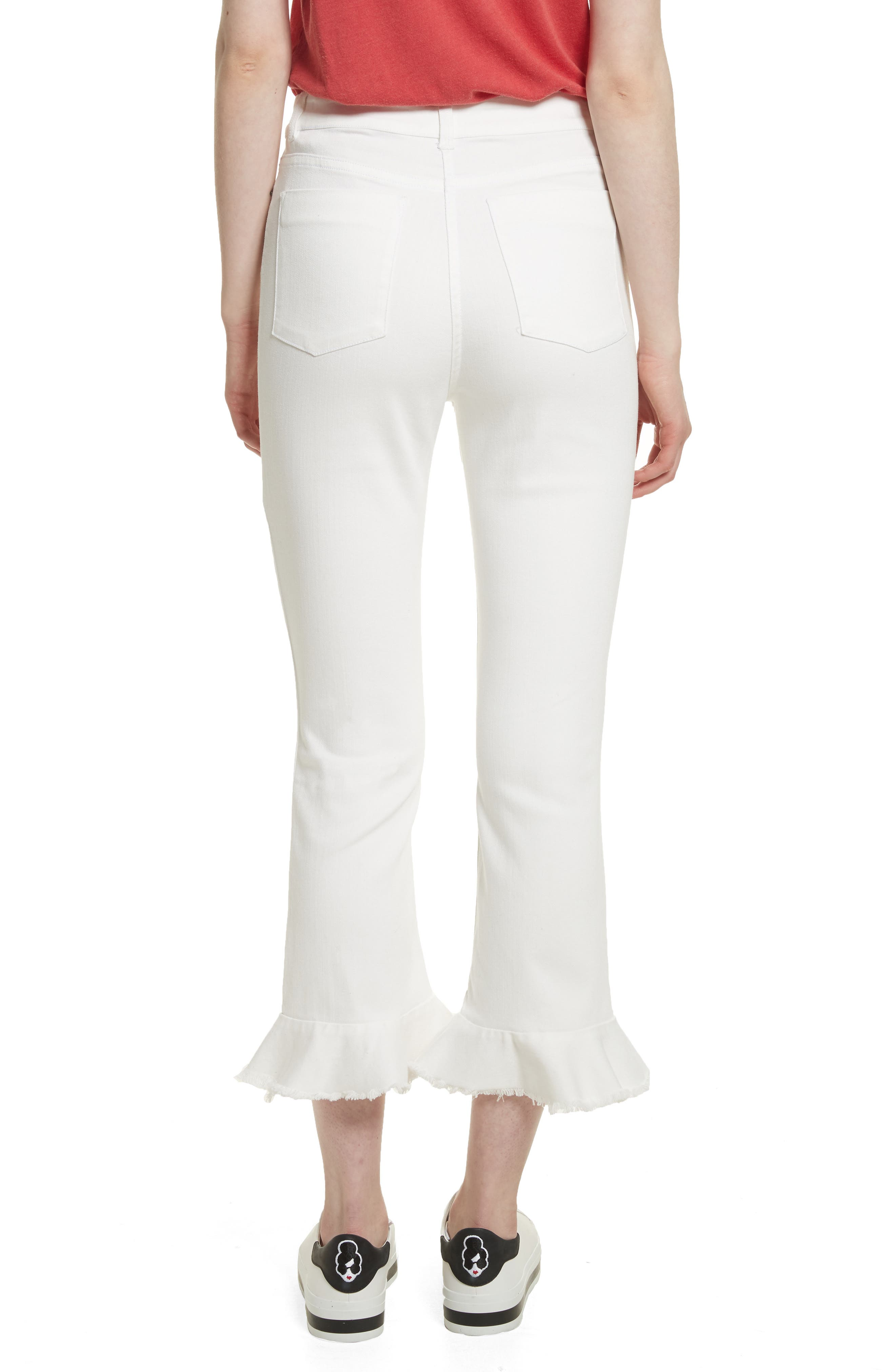 AO.LA Zoe Ruffle Hem Crop Jeans,                             Alternate thumbnail 2, color,                             White