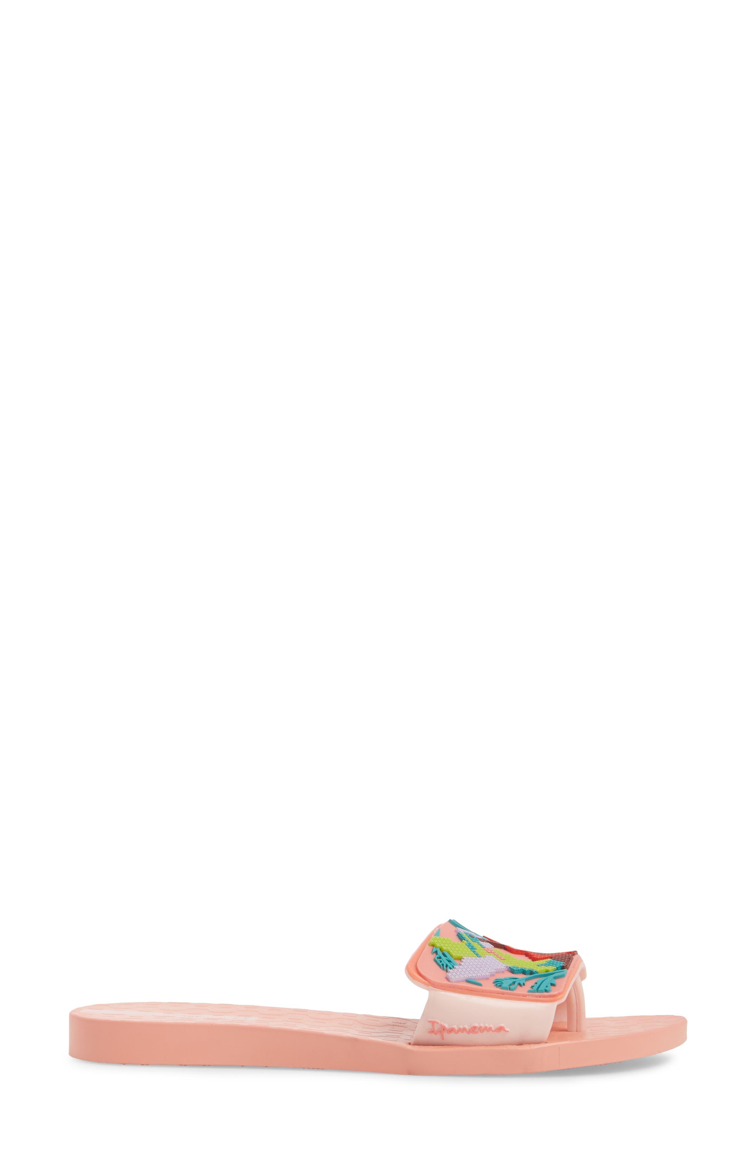 Nectar Floral Slide Sandal,                             Alternate thumbnail 3, color,                             Orange/ Pink