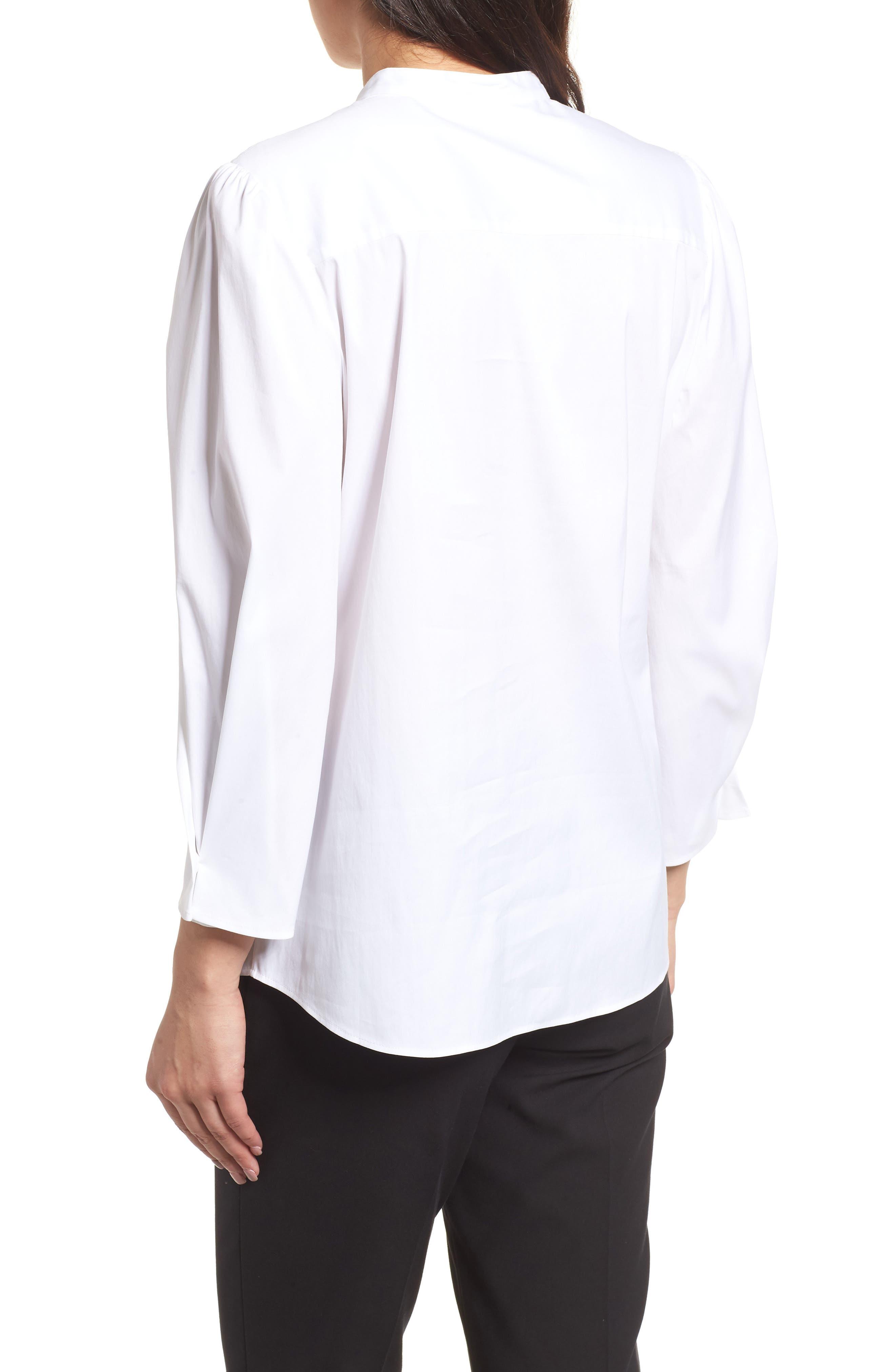 Stretch Poplin Shirt,                             Alternate thumbnail 2, color,                             White