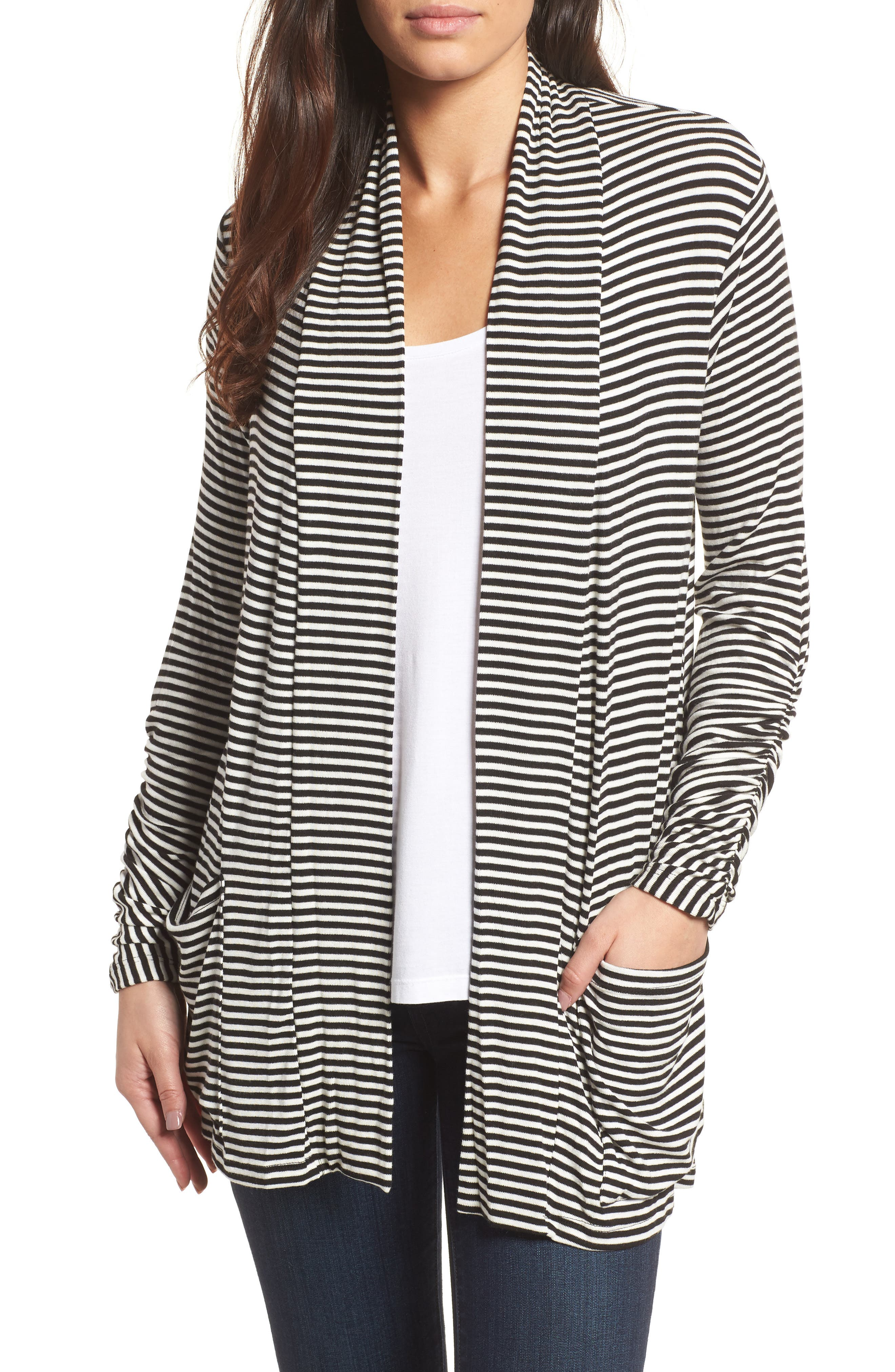 Ruched Sleeve Cardigan,                             Main thumbnail 1, color,                             Black/ White Stripe