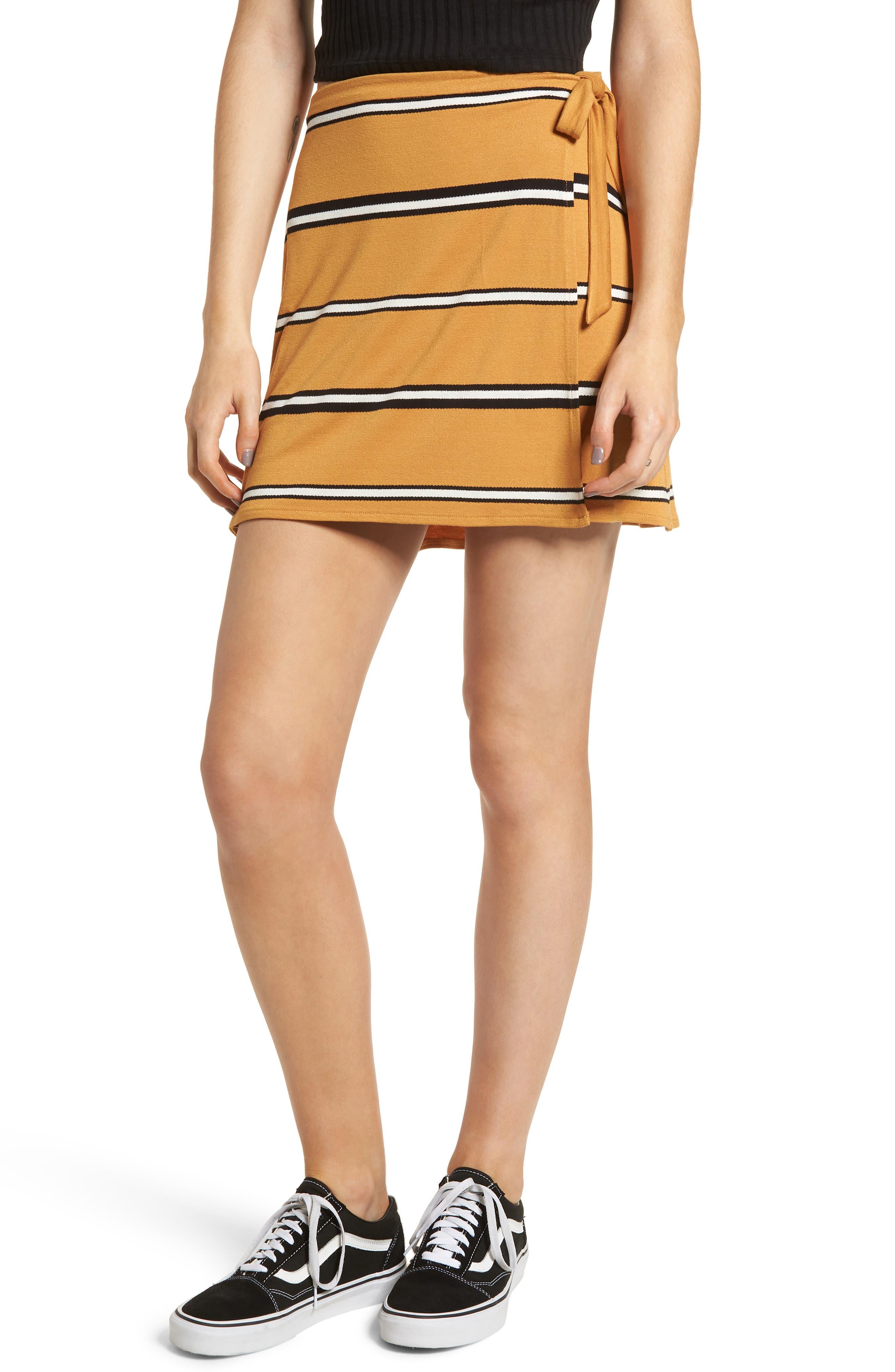 BP. Stripe Wrap Miniskirt