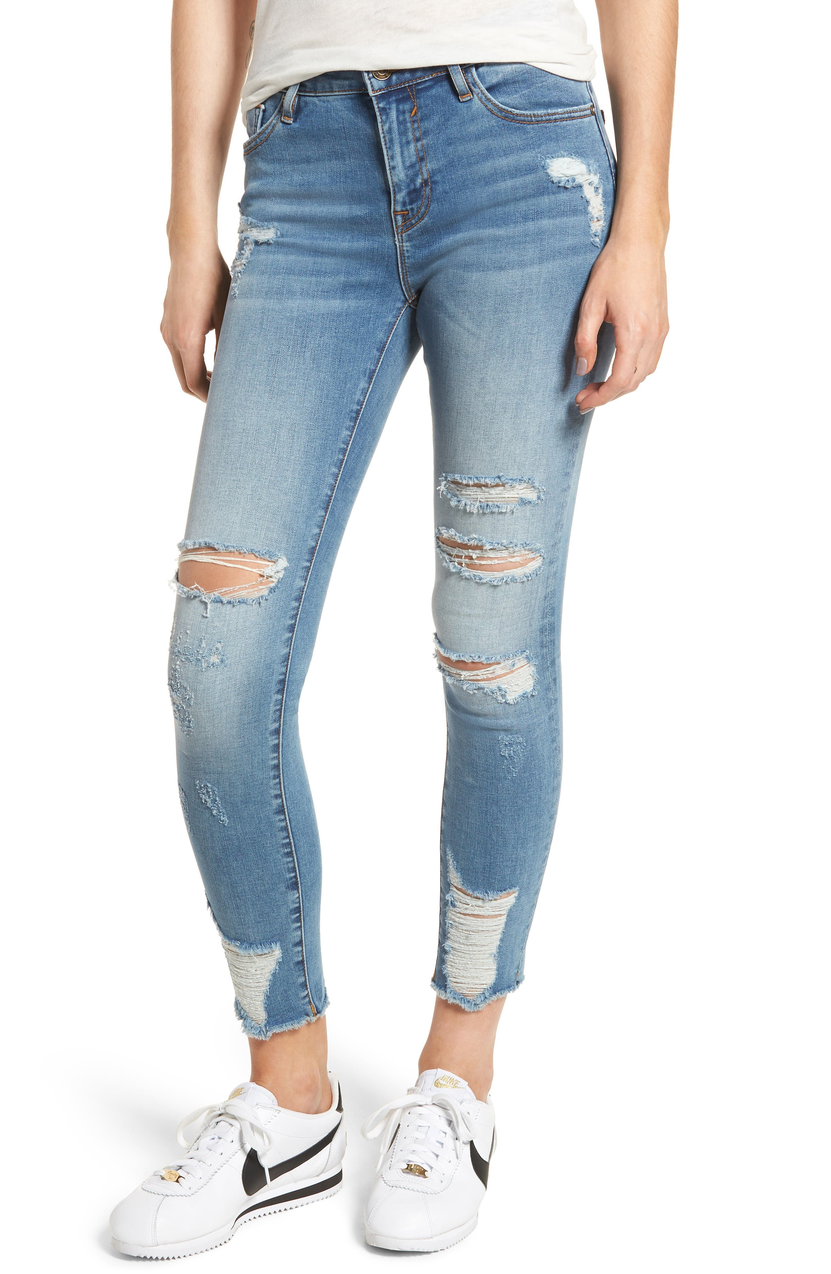 Marley Distressed Skinny Jeans,                             Main thumbnail 1, color,                             Medium Wash