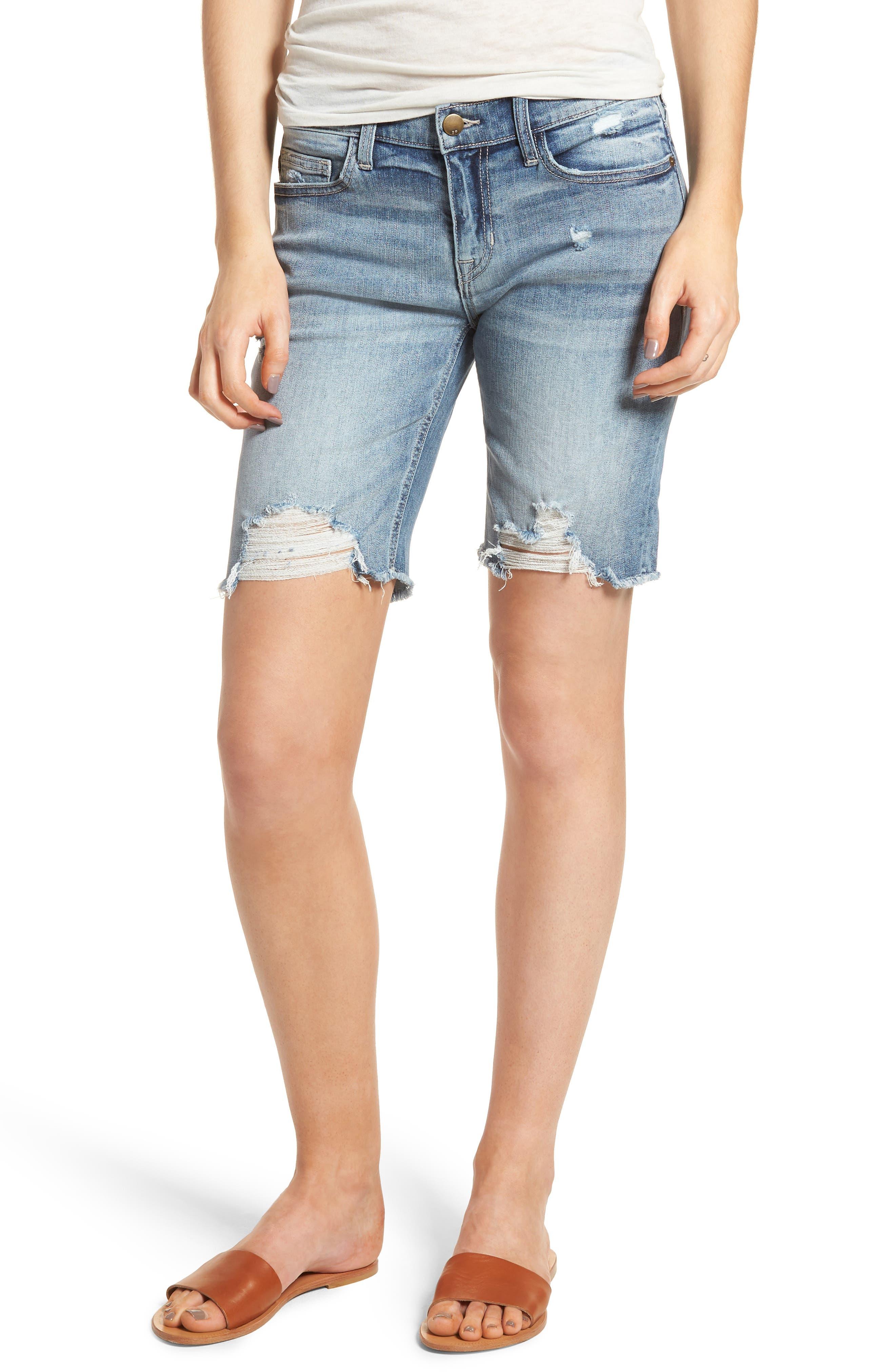 Ripped Denim Bermuda Shorts,                         Main,                         color, Med Wash