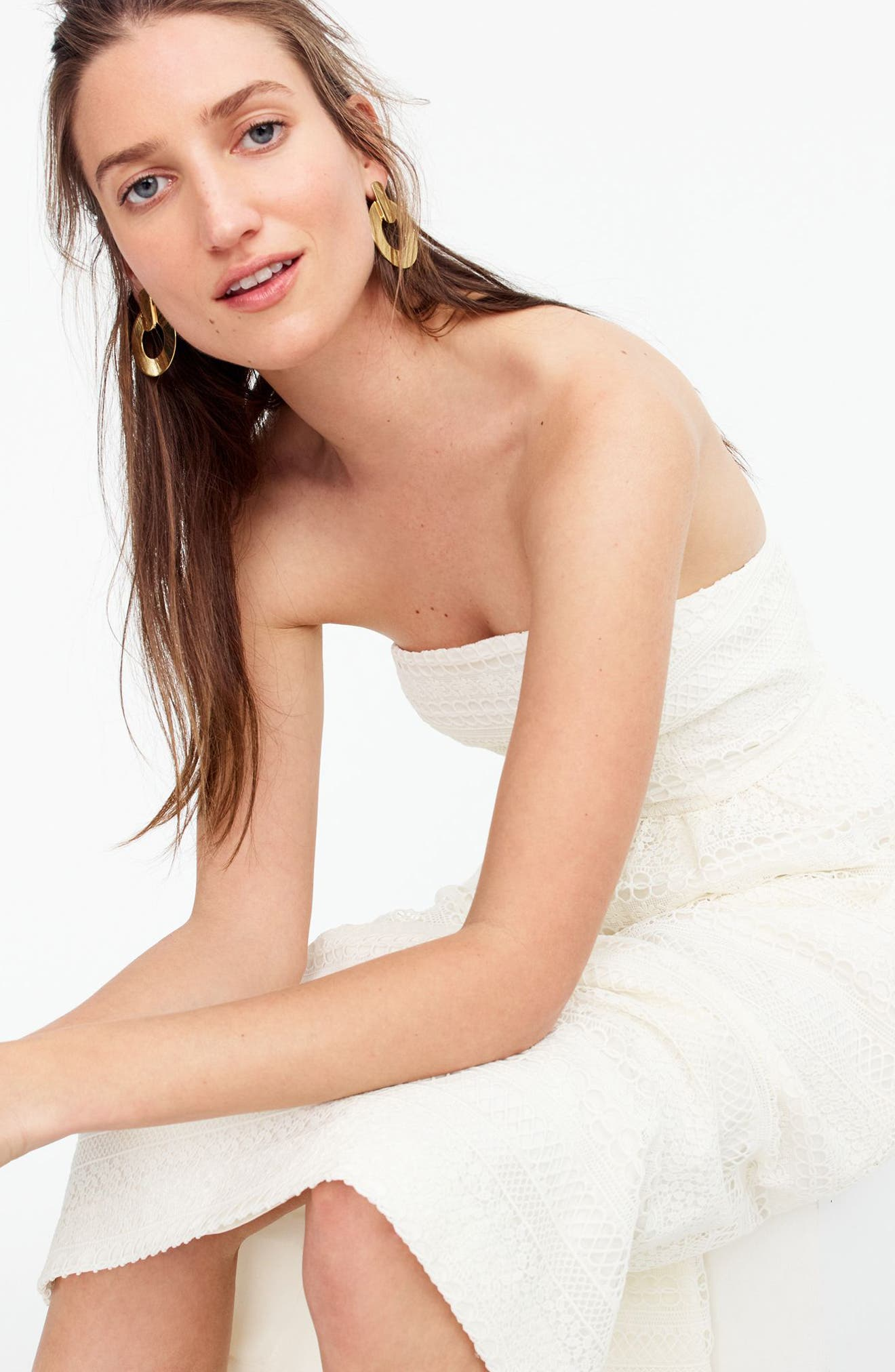 Strapless Lace Dress,                             Alternate thumbnail 2, color,                             Ivory