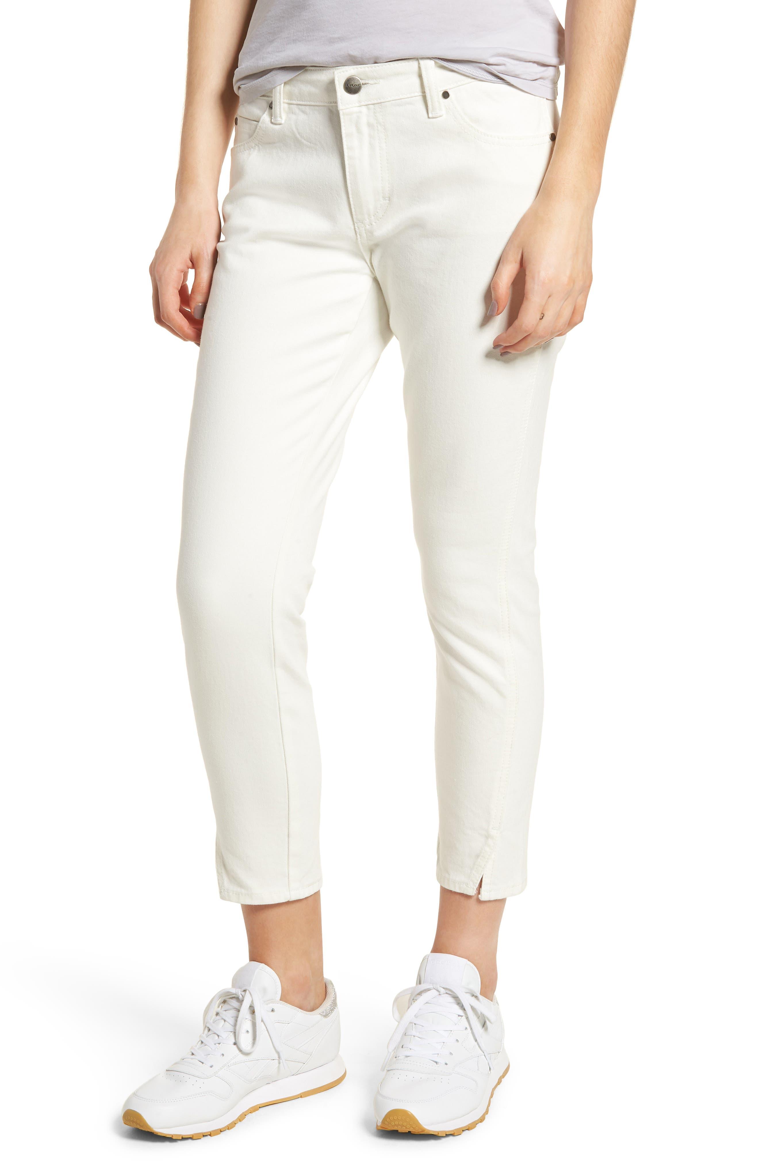EVIDNT Tate Crop Twist Hem Skinny Jeans