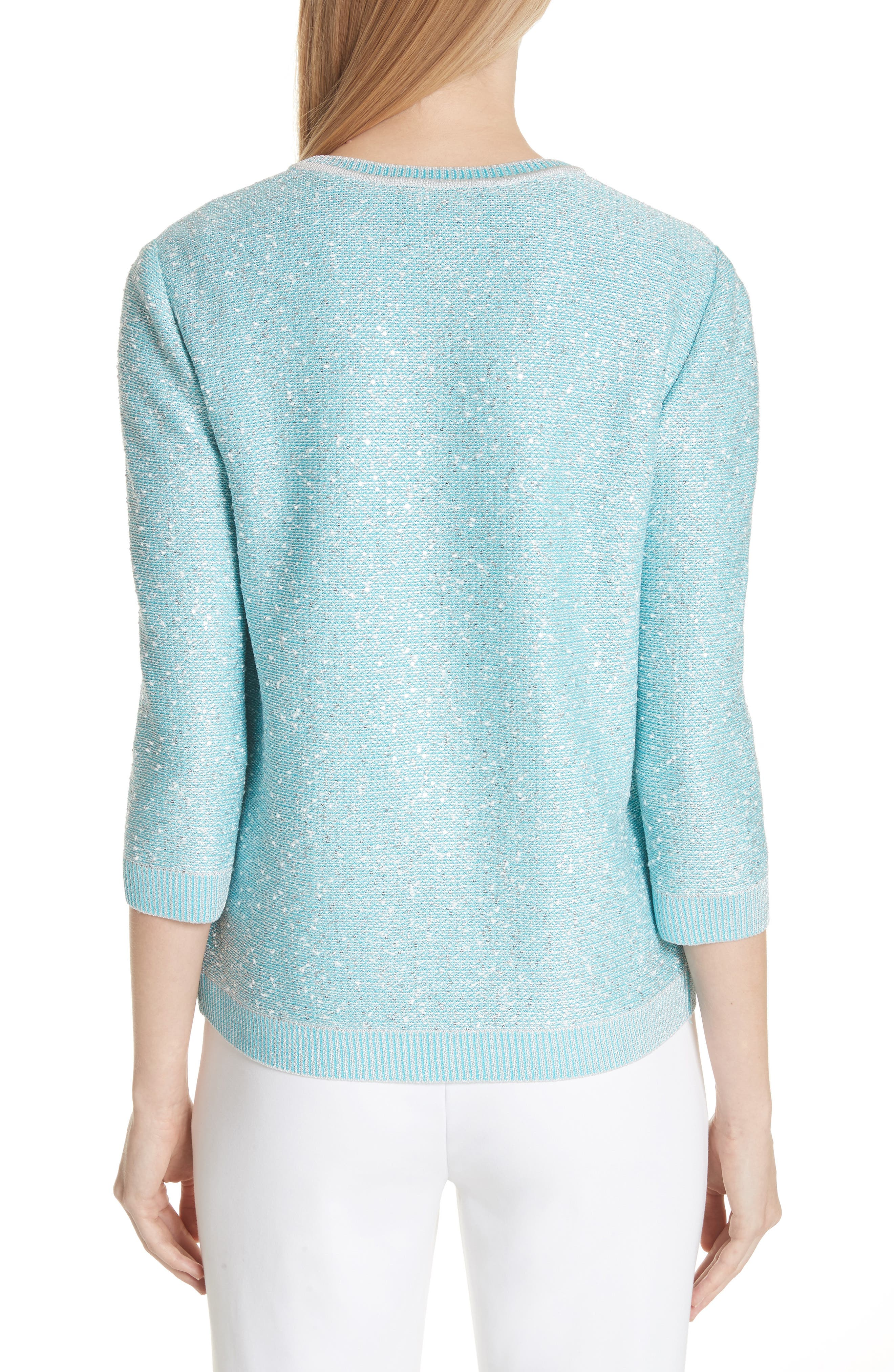Flecked Sparkle Knit Cardigan,                             Alternate thumbnail 2, color,                             Aqua Multi