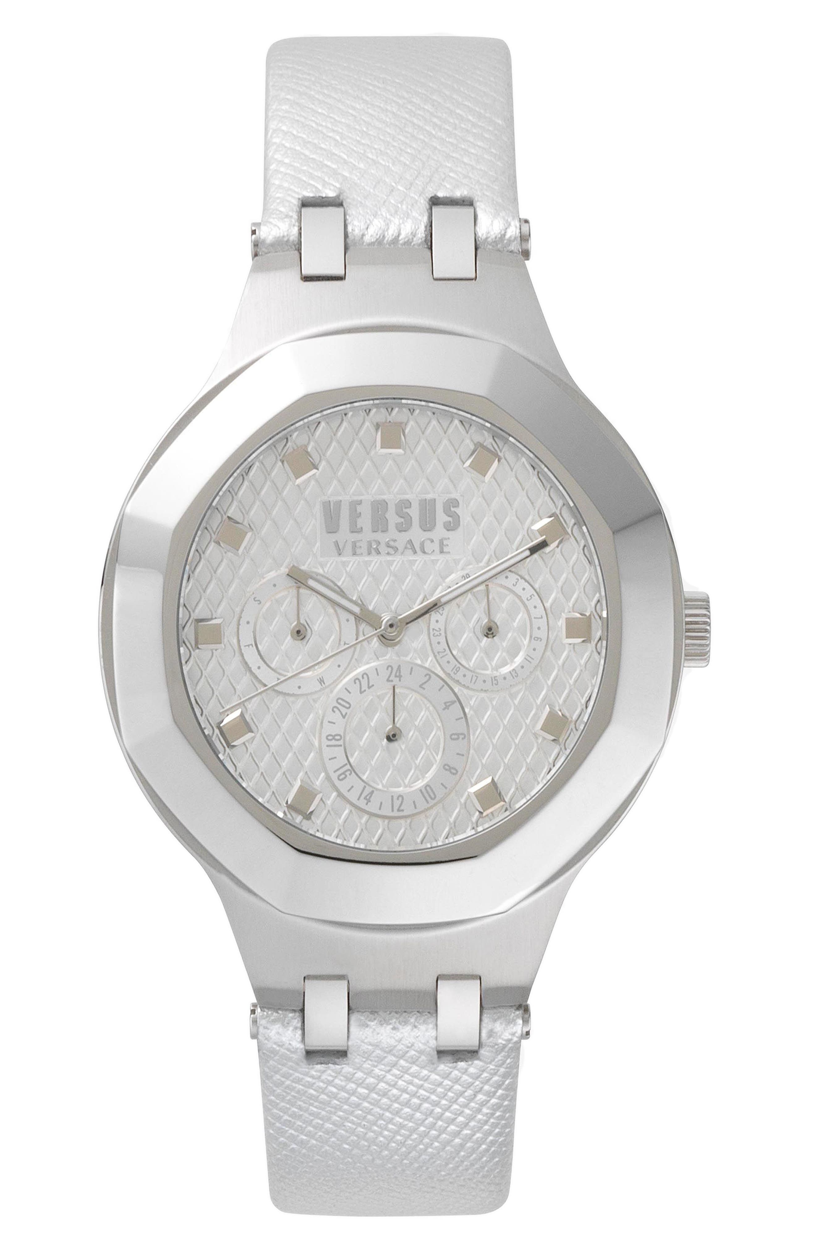 VERSUS by Versace Laguna City Multifunction Leather Strap Watch, 40mm,                             Main thumbnail 1, color,                             White/ Silver