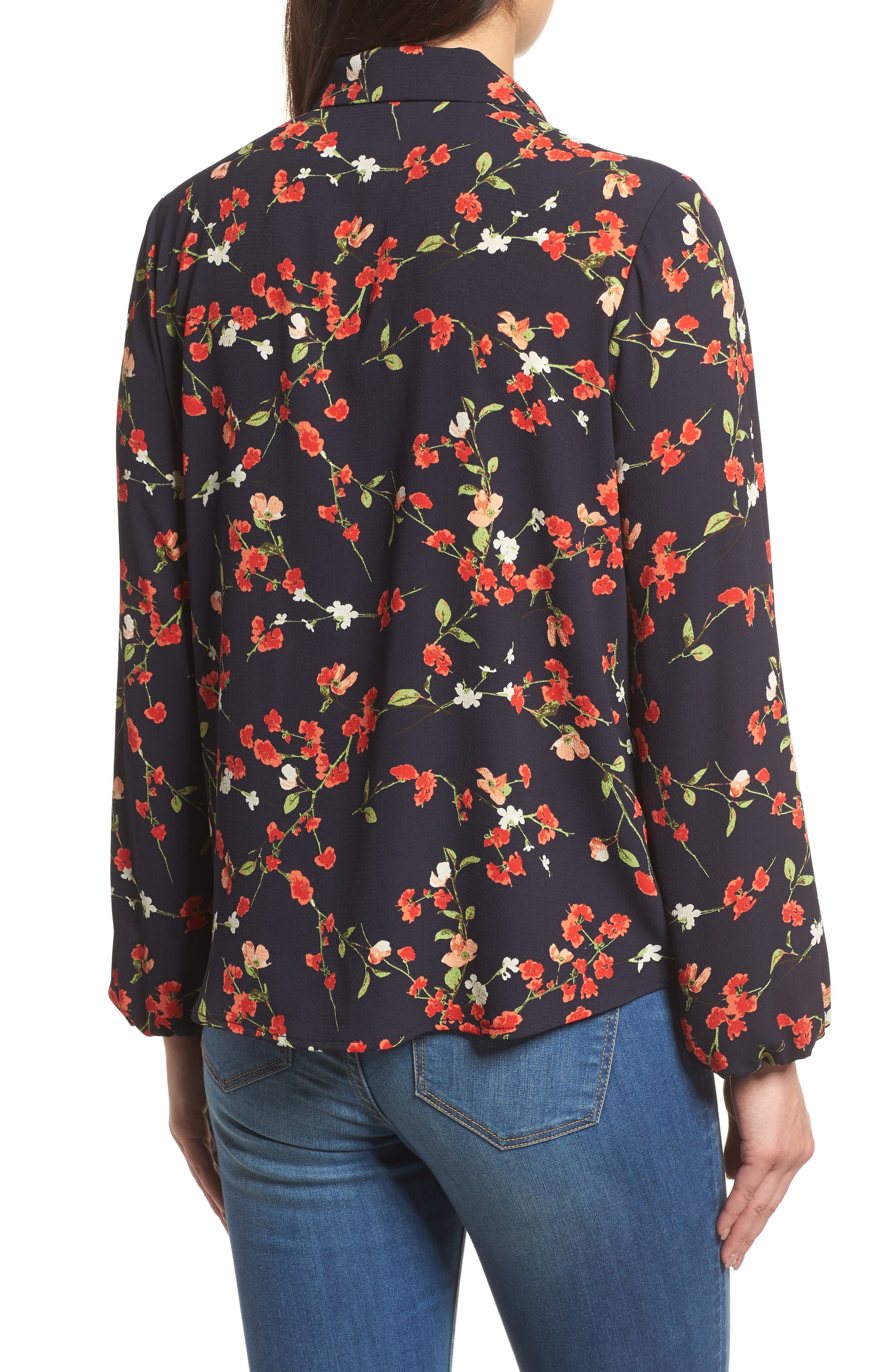 Relaxed Tie Front Top,                             Alternate thumbnail 2, color,                             Black Print With Red Flowers