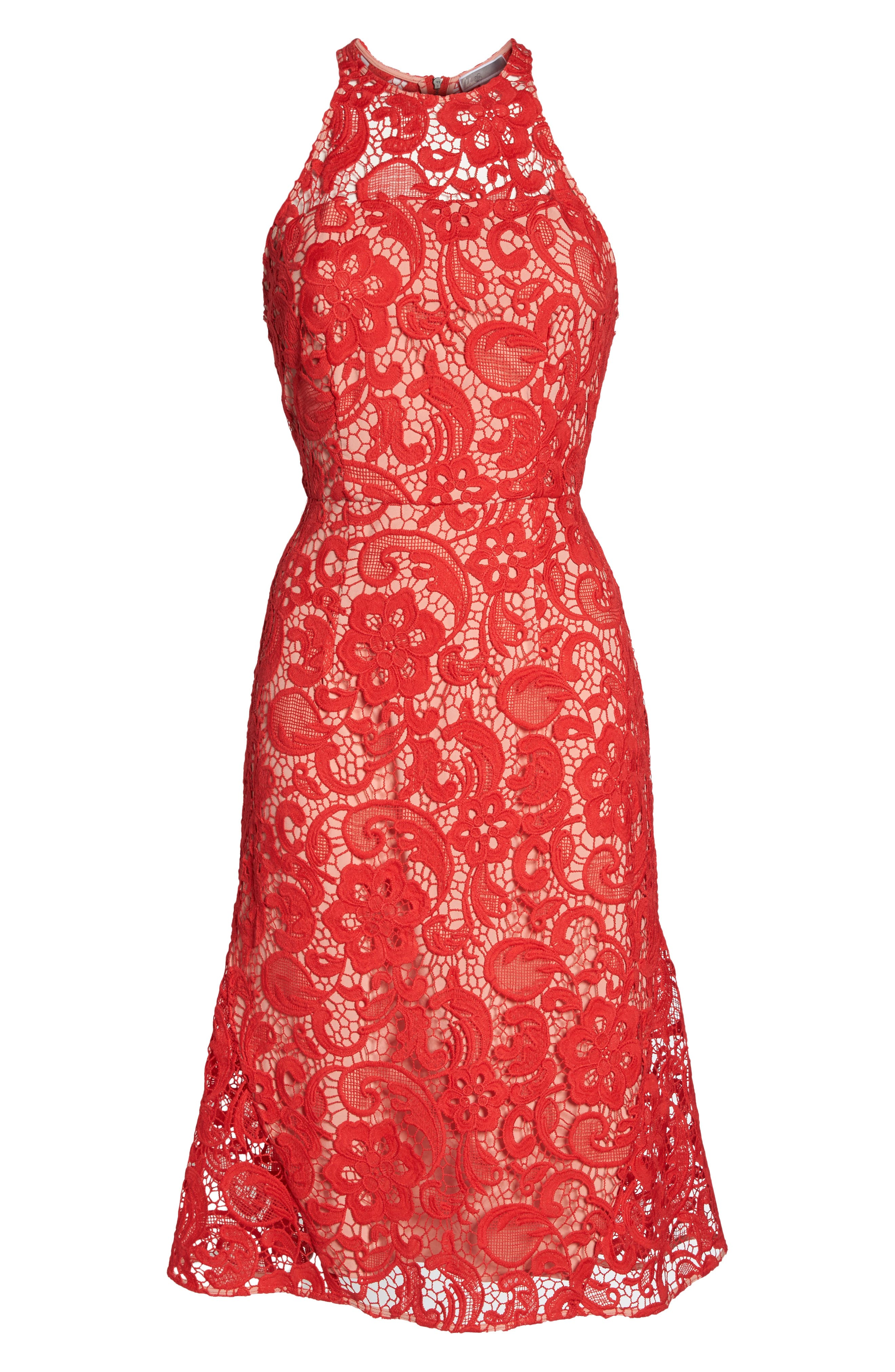 Carnation Lace Dress,                             Alternate thumbnail 6, color,                             Red Fiery