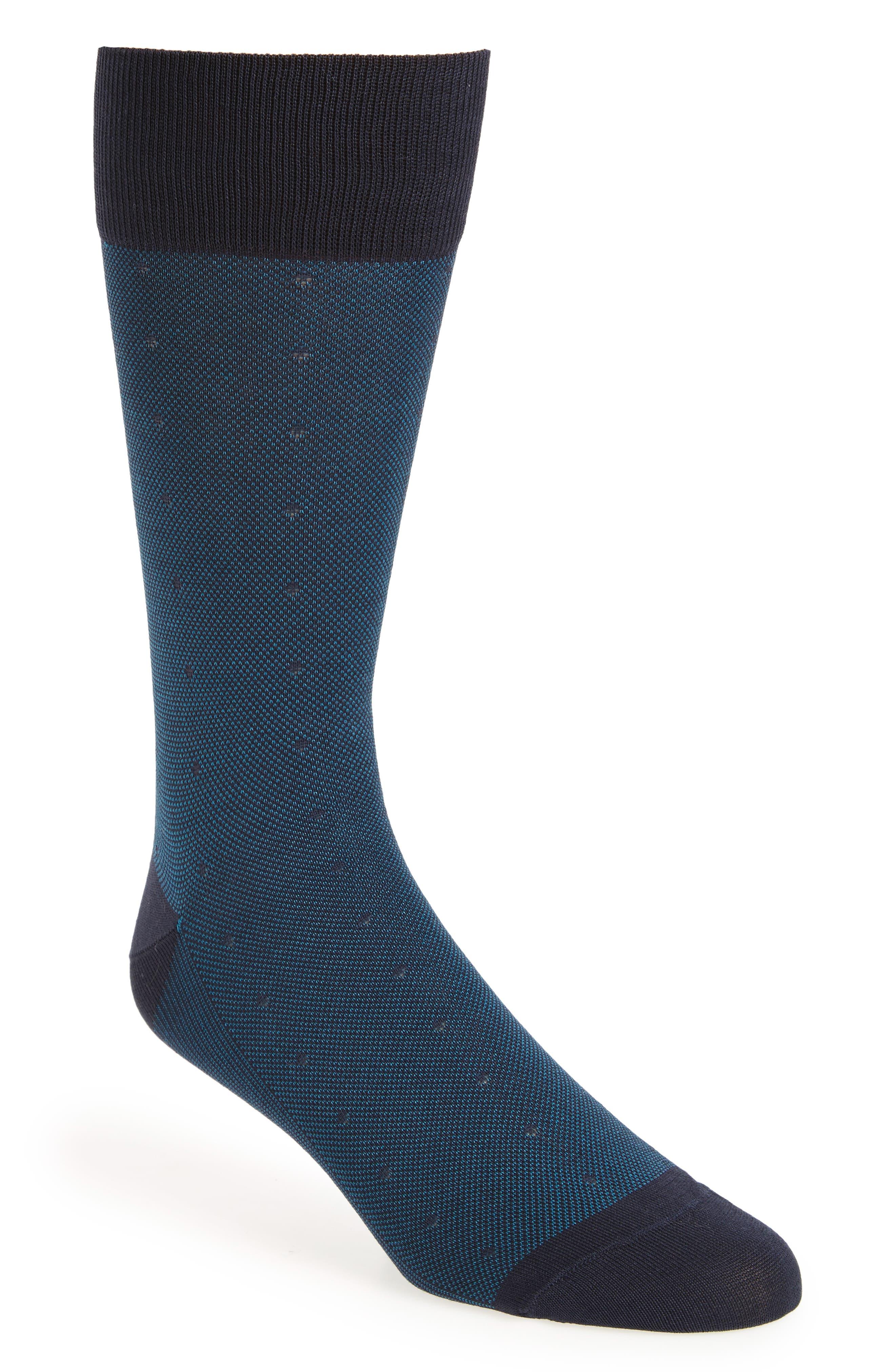 Mercerized Piqué Dot Socks,                             Main thumbnail 1, color,                             Navy/ Blue
