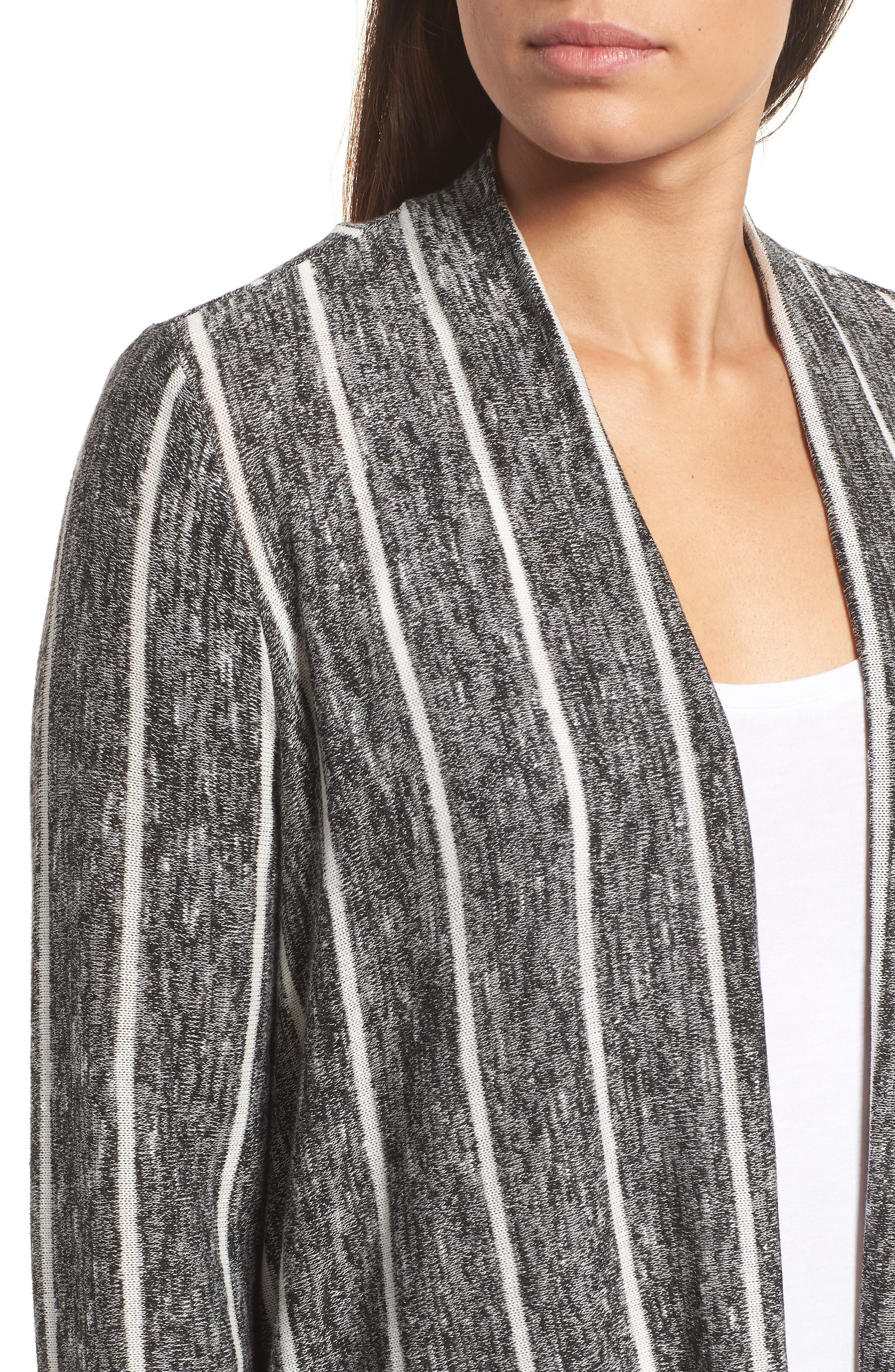 Marled Stripe Open Front Cardigan,                             Alternate thumbnail 4, color,                             060-Rich Black