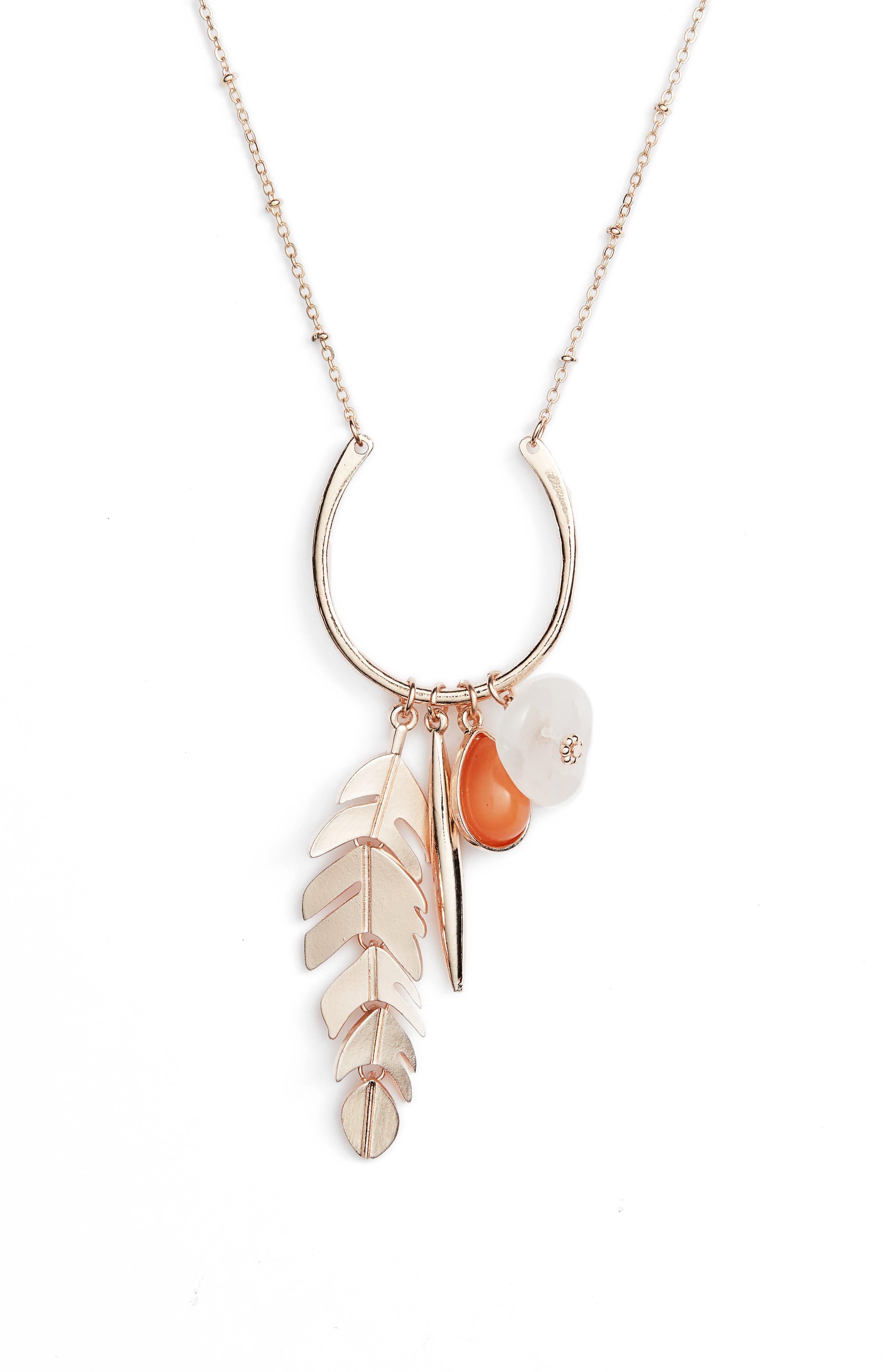 Rose Quartz Leaf Layered Pendant Necklace,                             Alternate thumbnail 2, color,                             Rose Gold