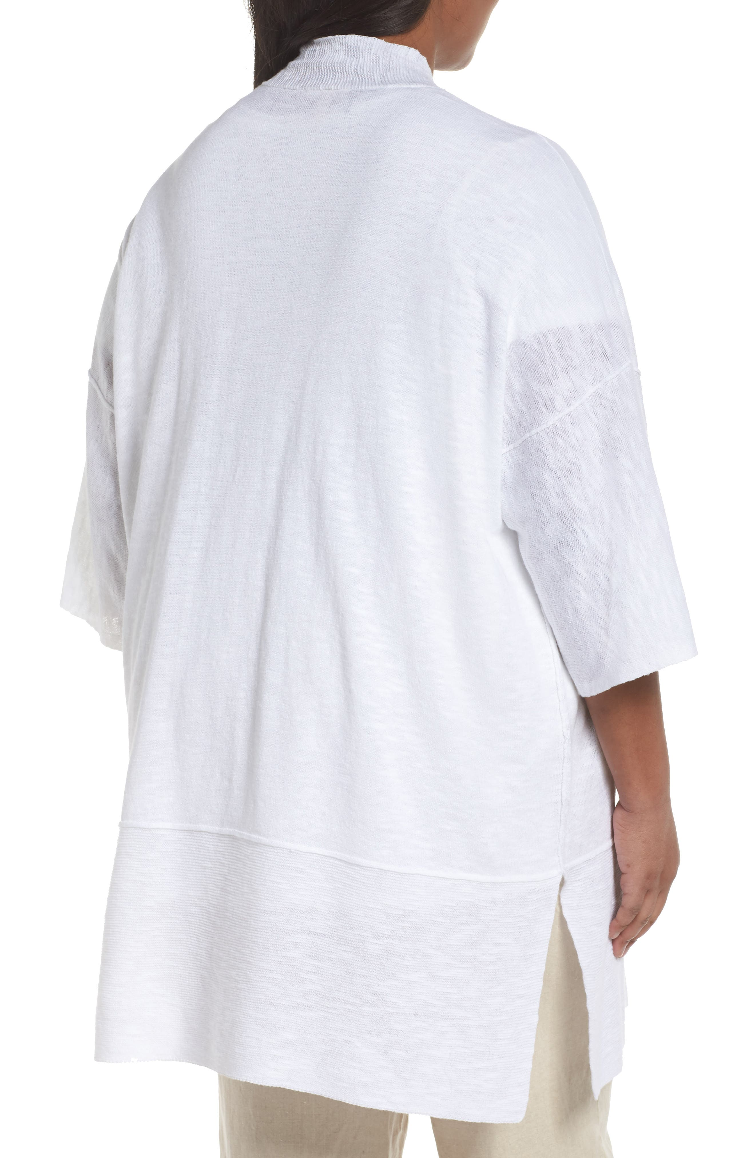 Organic Linen & Cotton Kimono Cardigan,                             Alternate thumbnail 2, color,                             White