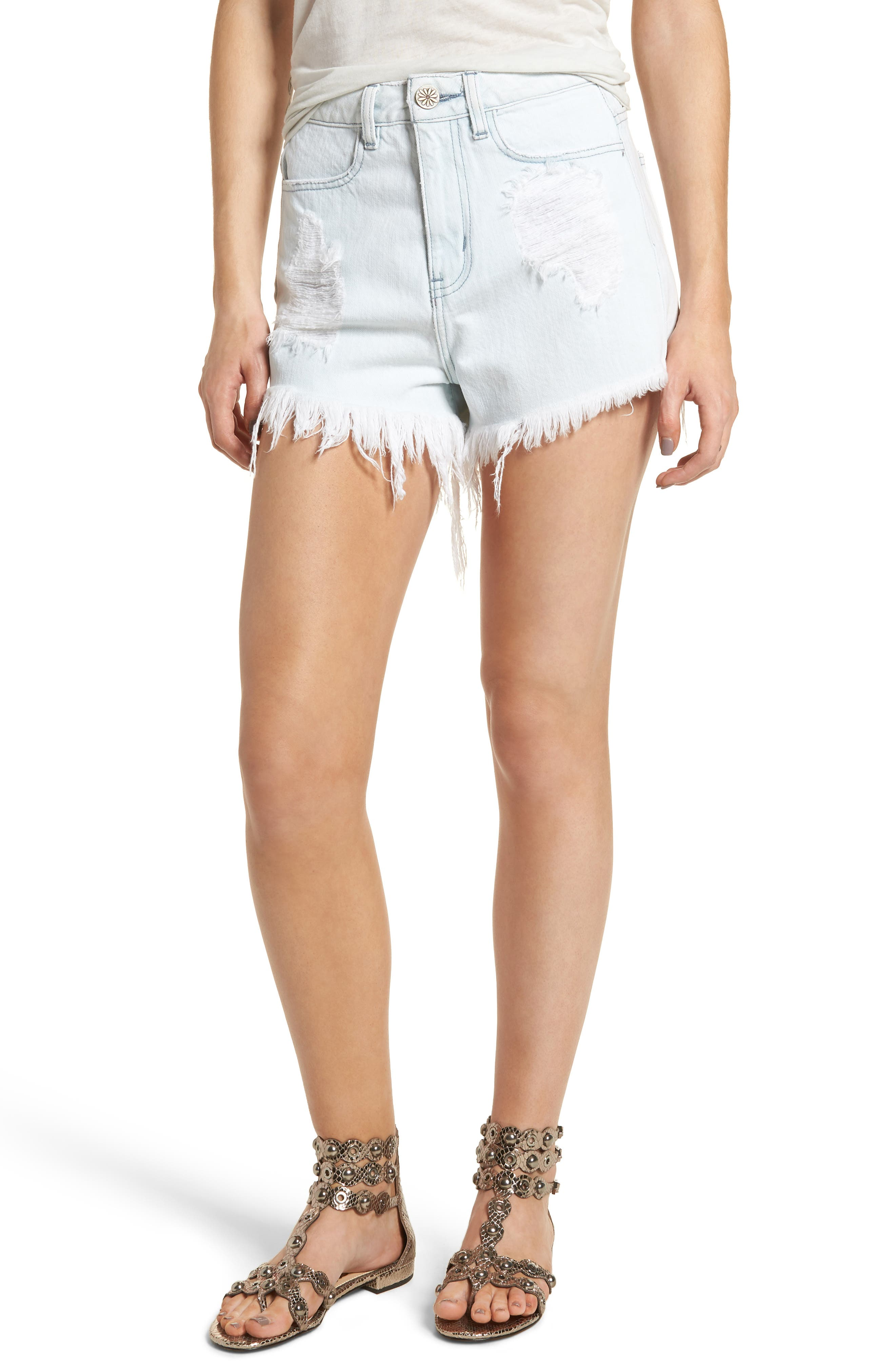 Show Me Your Mumu Wyoming High Waist Cutoff Denim Shorts (Whitewater)