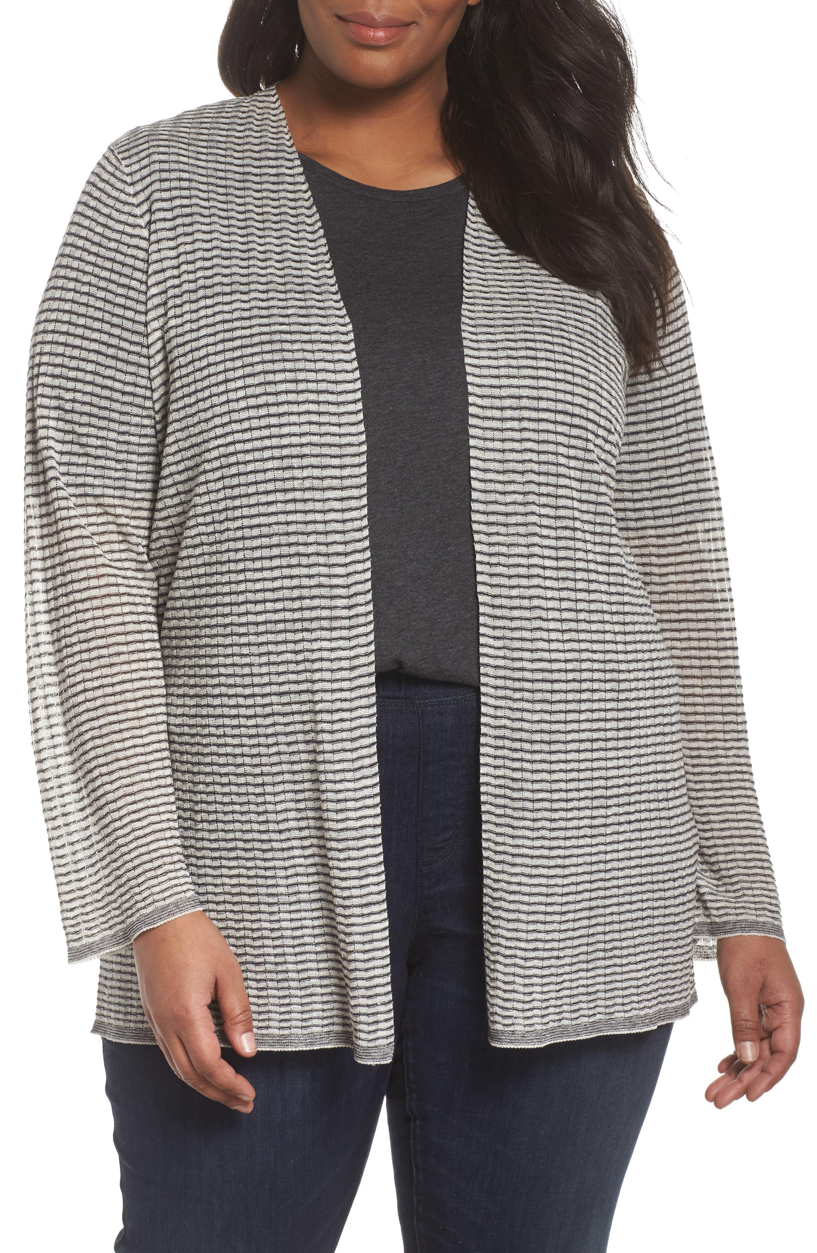 Eileen Fisher Simple Stripe Linen Blend Cardigan (Plus Size)