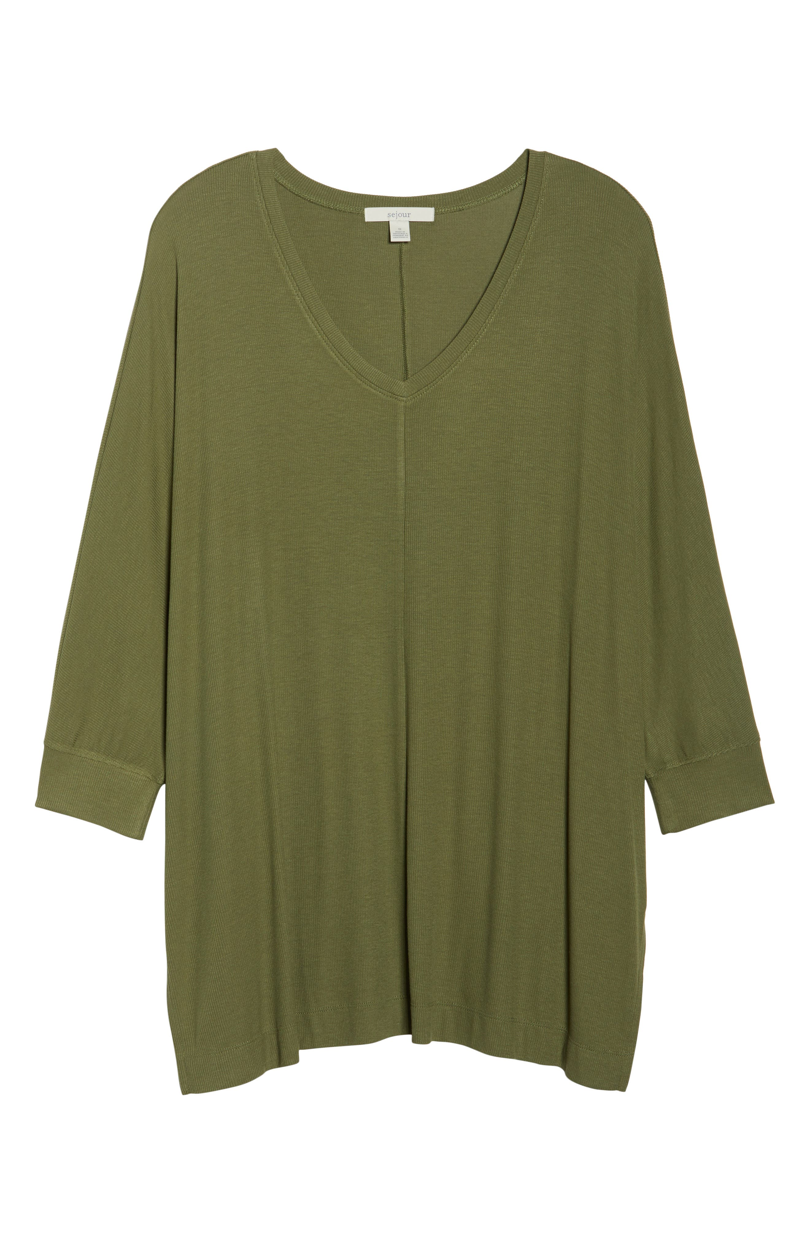 V-Neck Tunic Top,                             Alternate thumbnail 6, color,                             Olive Moss