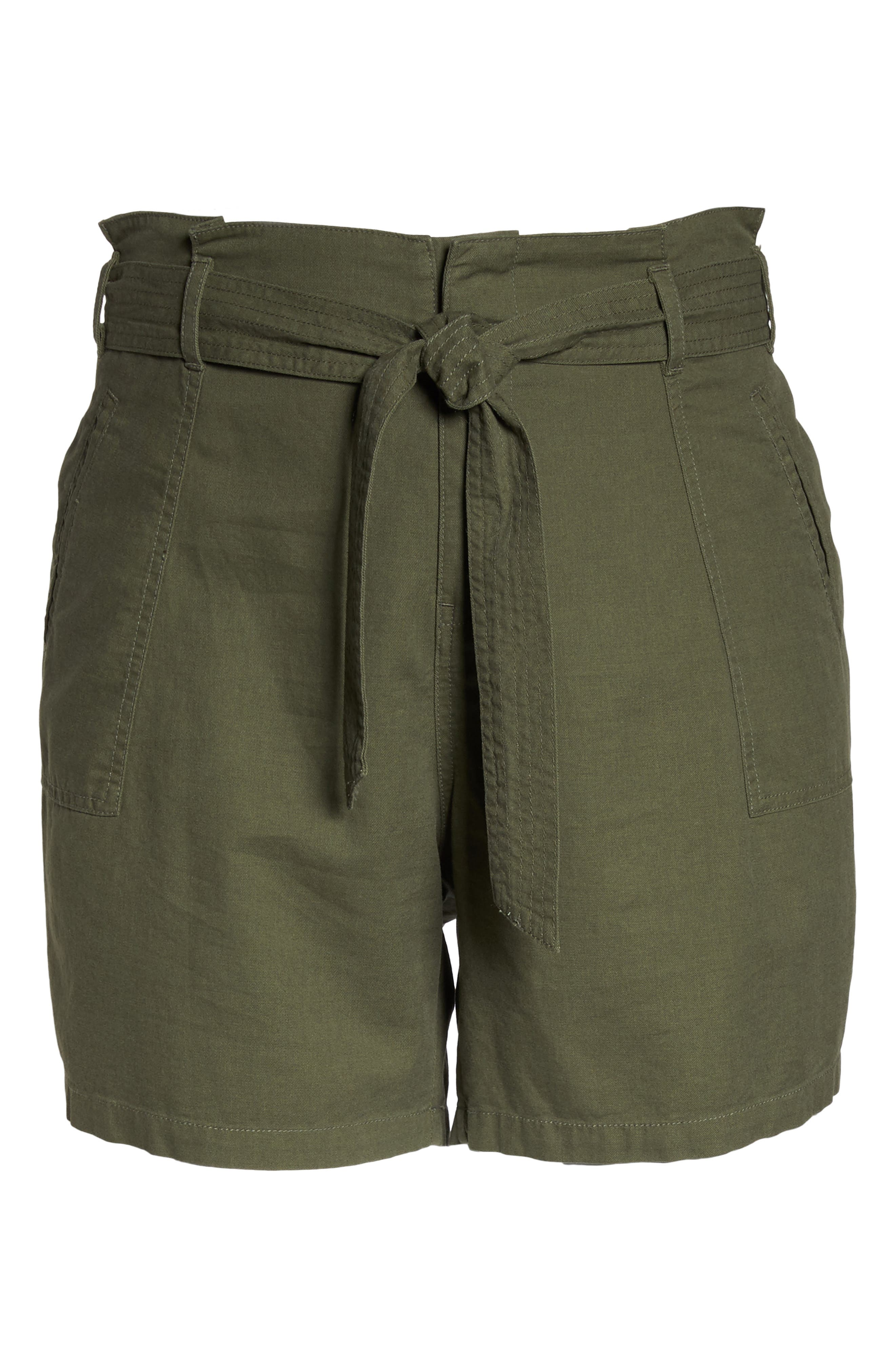 Belted Twill Shorts,                             Alternate thumbnail 7, color,                             Olive Sarma