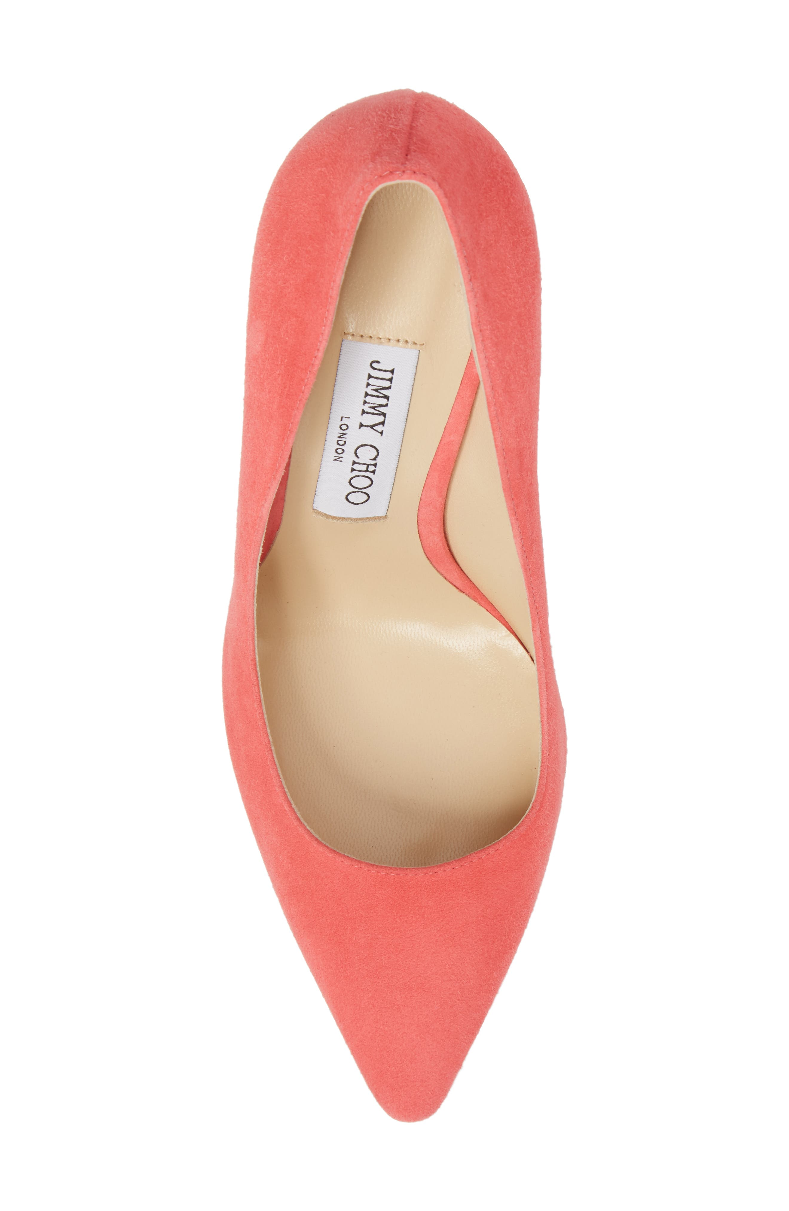 'Romy' Pointy Toe Pump,                             Alternate thumbnail 5, color,                             Flamingo Pink