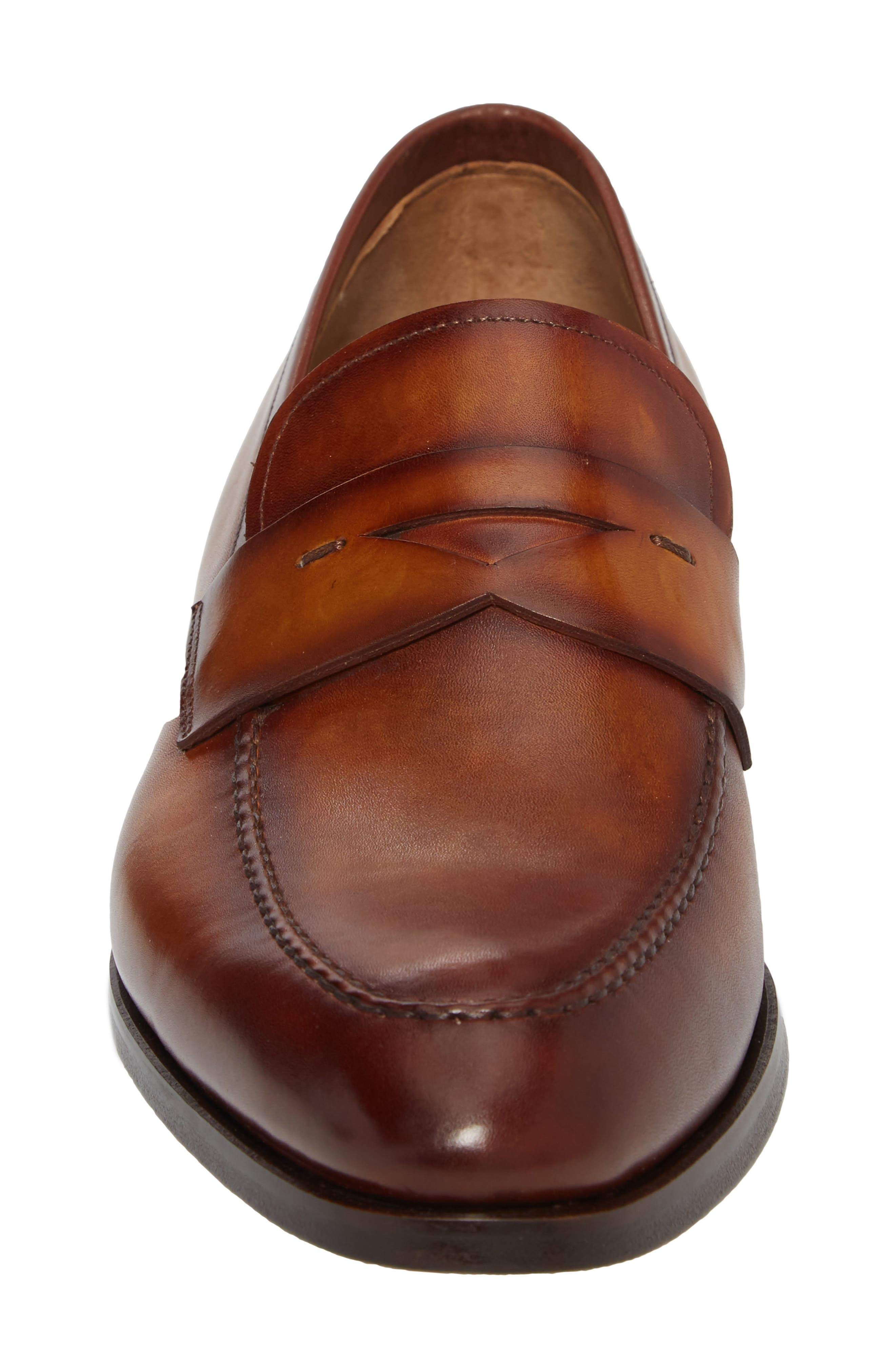 Rolly Apron Toe Penny Loafer,                             Alternate thumbnail 4, color,                             Brown Leather