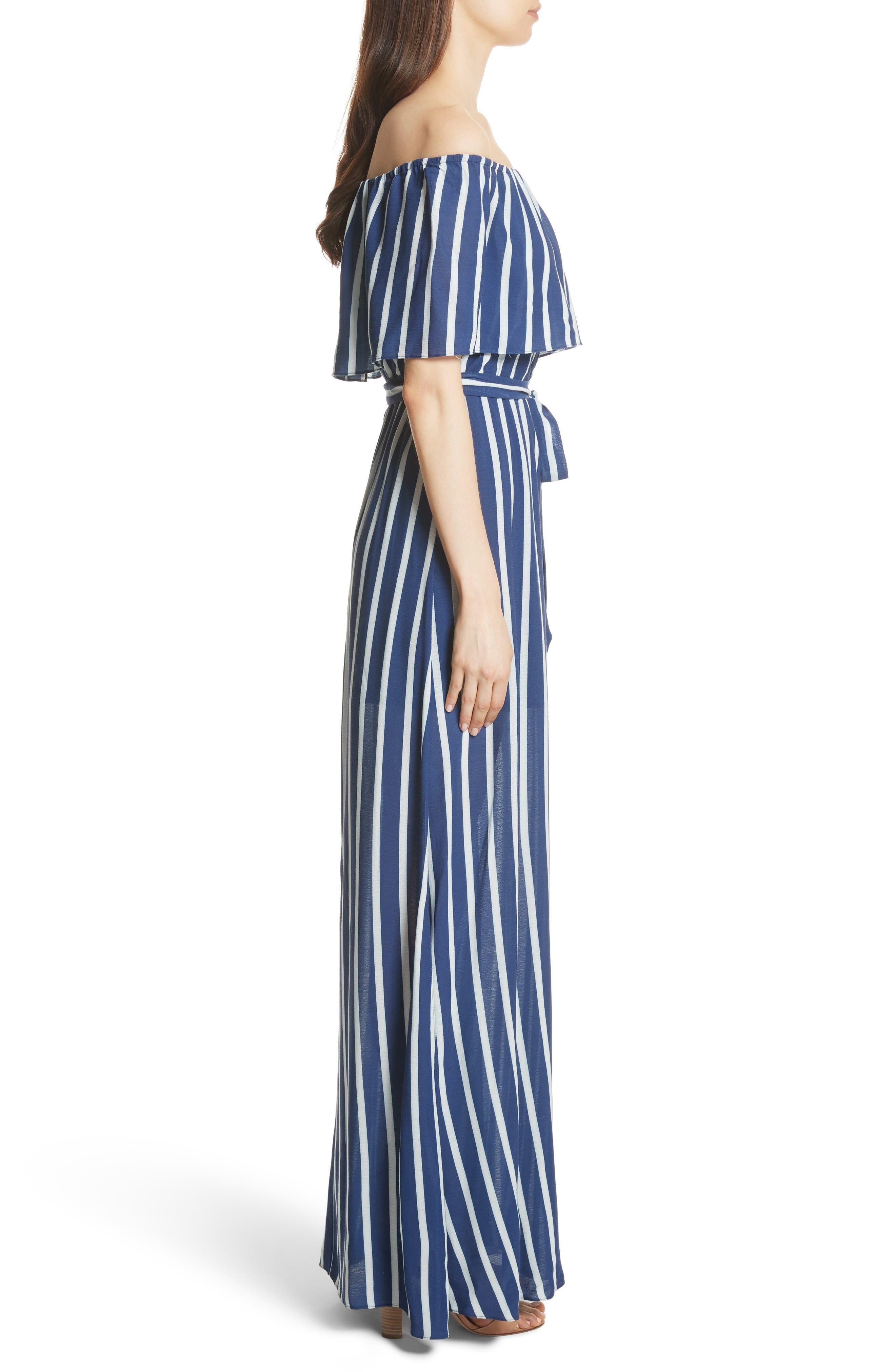 Grazi Off the Shoulder Maxi Dress,                             Alternate thumbnail 3, color,                             Oasis Stripe