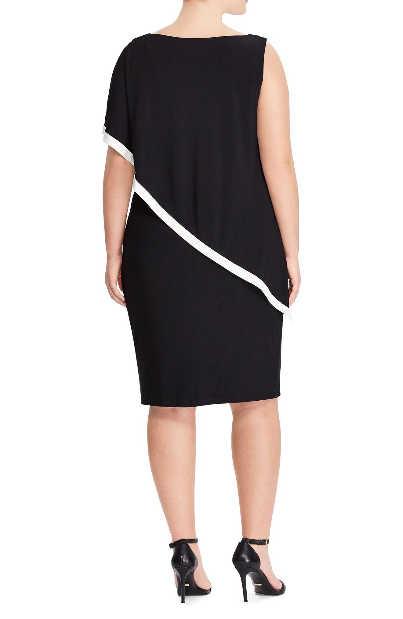 Cape Overlay Sheath Dress,                             Alternate thumbnail 2, color,                             Black-Lauren White