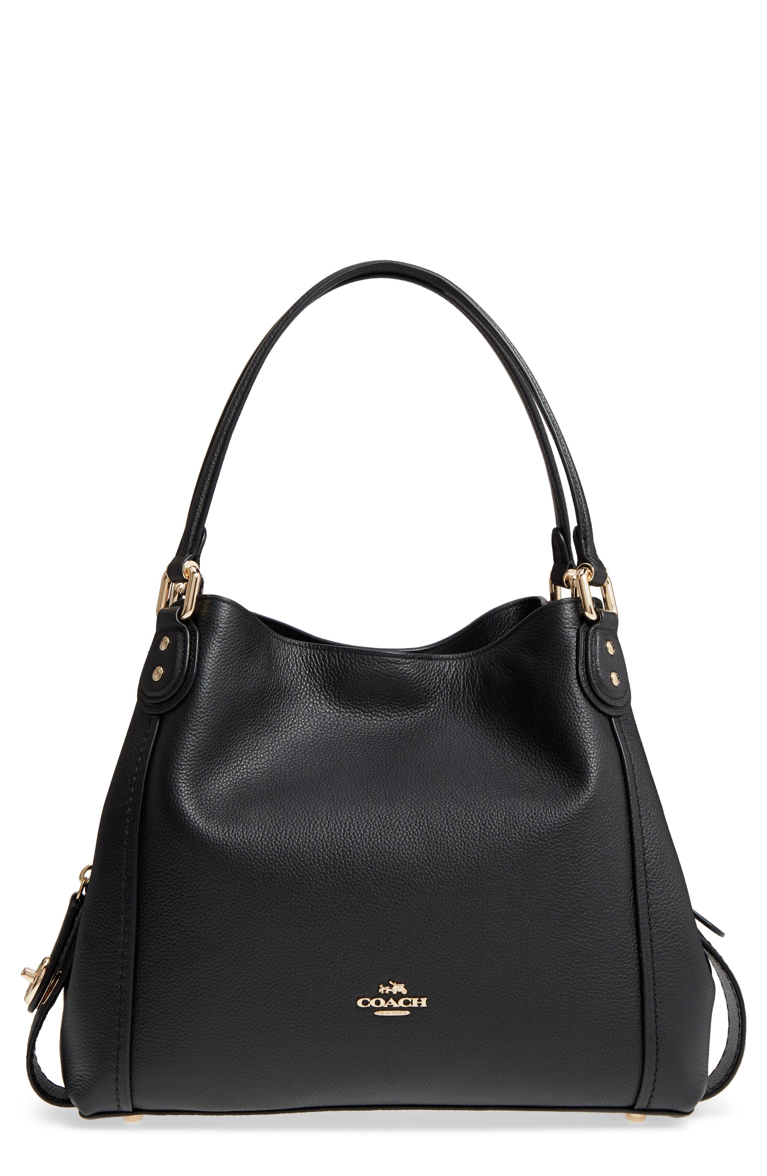 Edie 31 Pebbled Leather Shoulder Bag,                         Main,                         color, Black