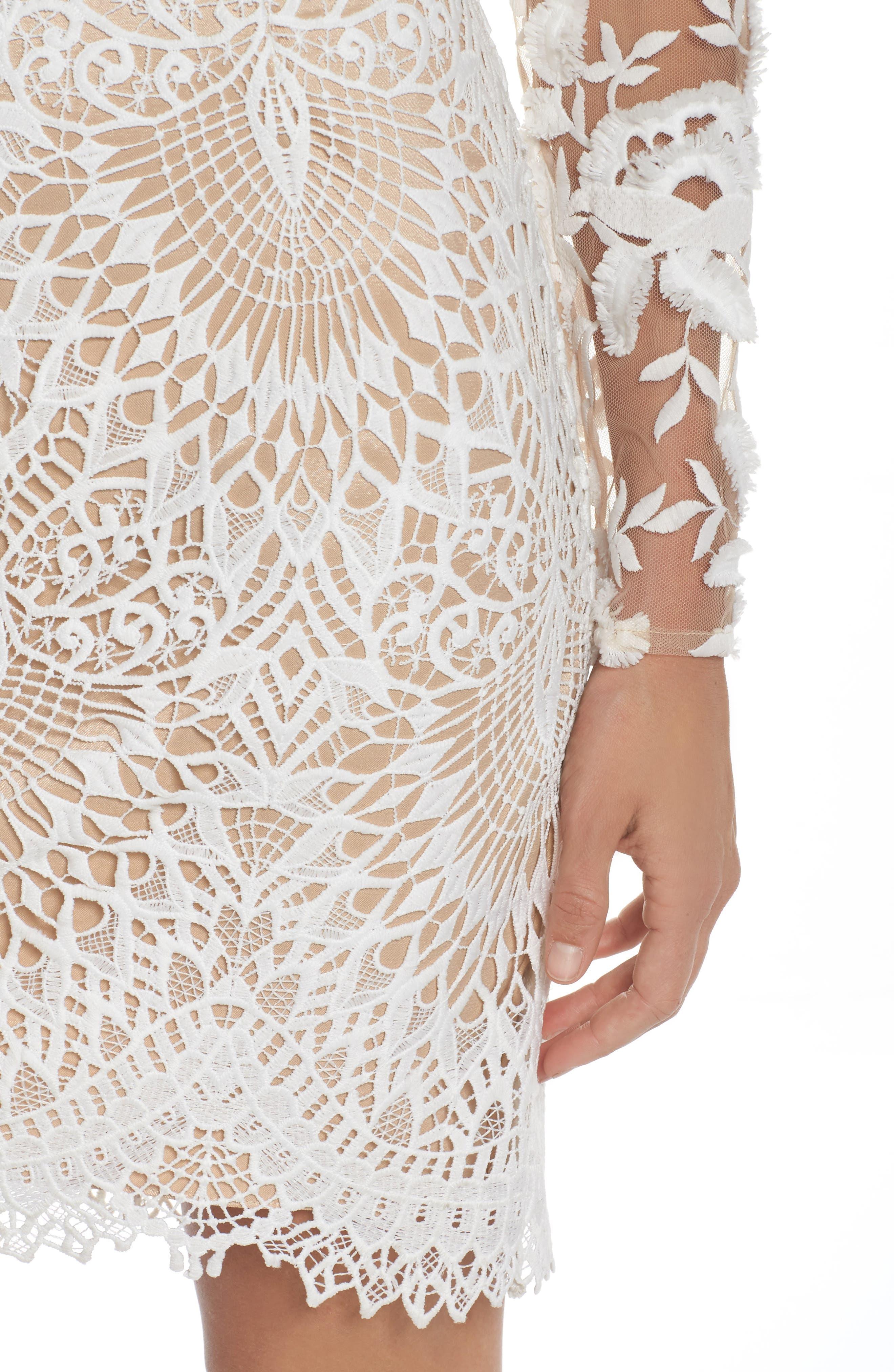 Calypso Lace Sheath Dress,                             Alternate thumbnail 4, color,                             Ivory Nude
