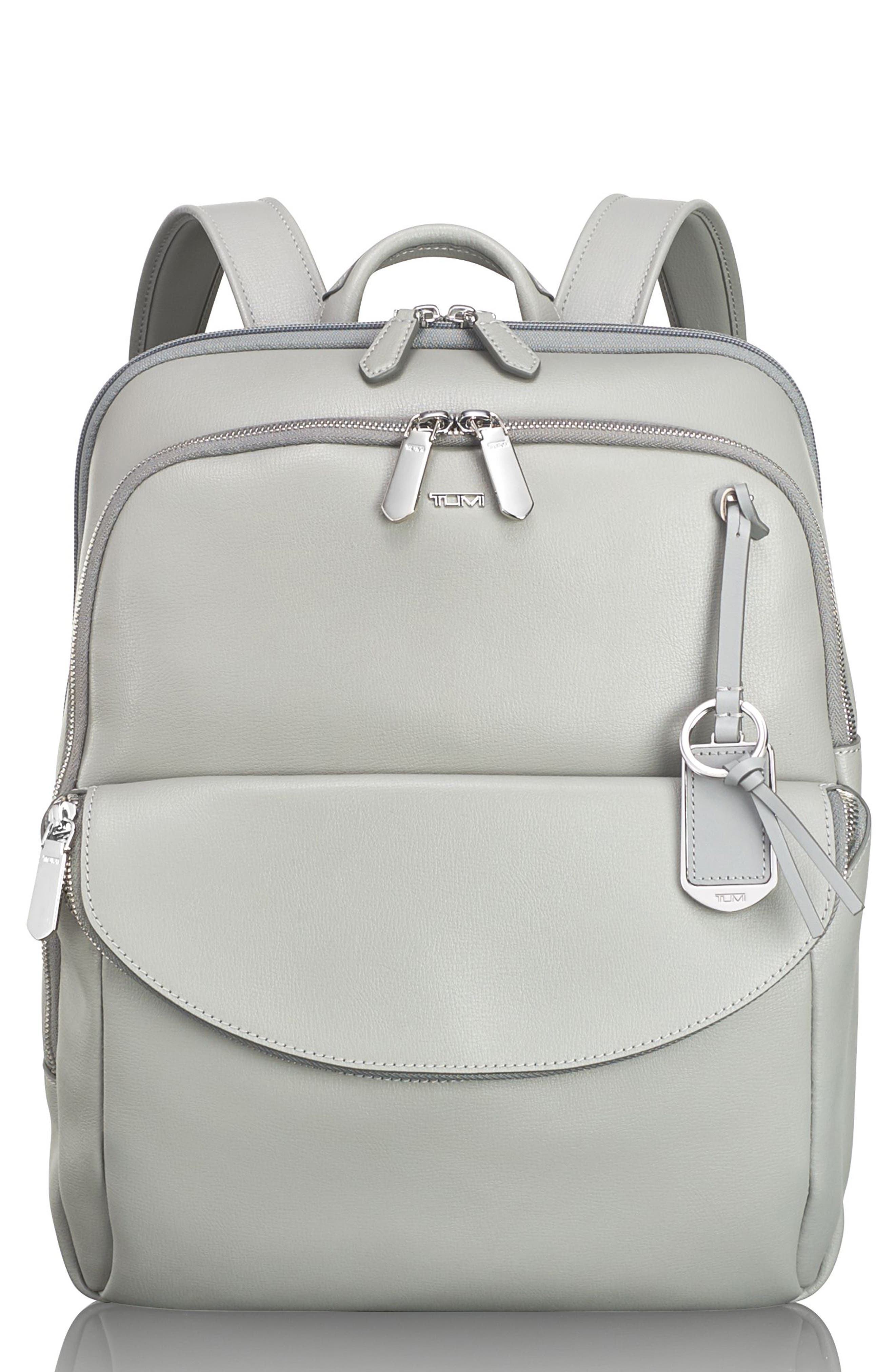 Stanton Hettie Leather Backpack,                             Main thumbnail 1, color,                             Light Grey